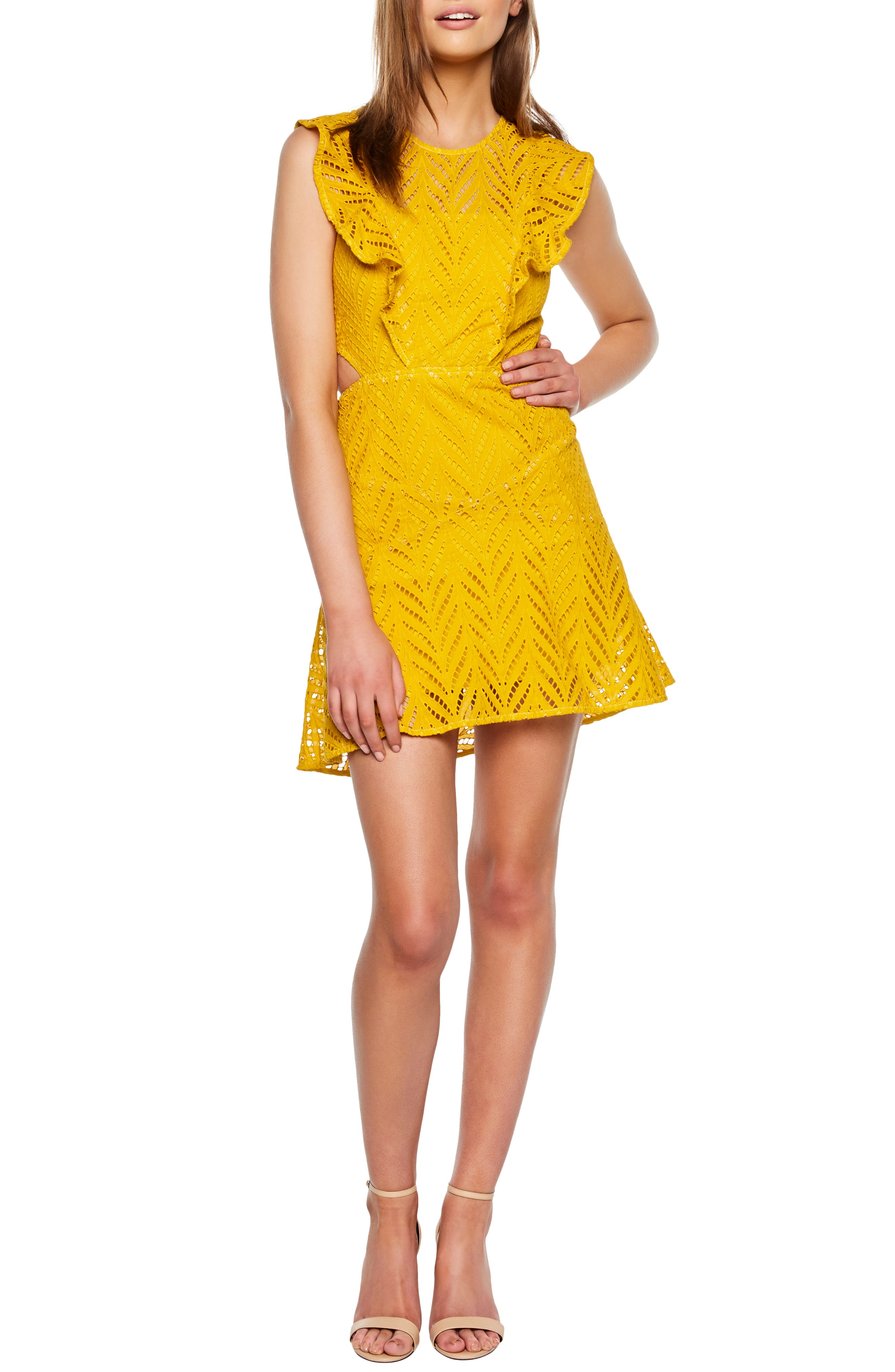 Bardot Kira Fit & Flare Dress, Yellow