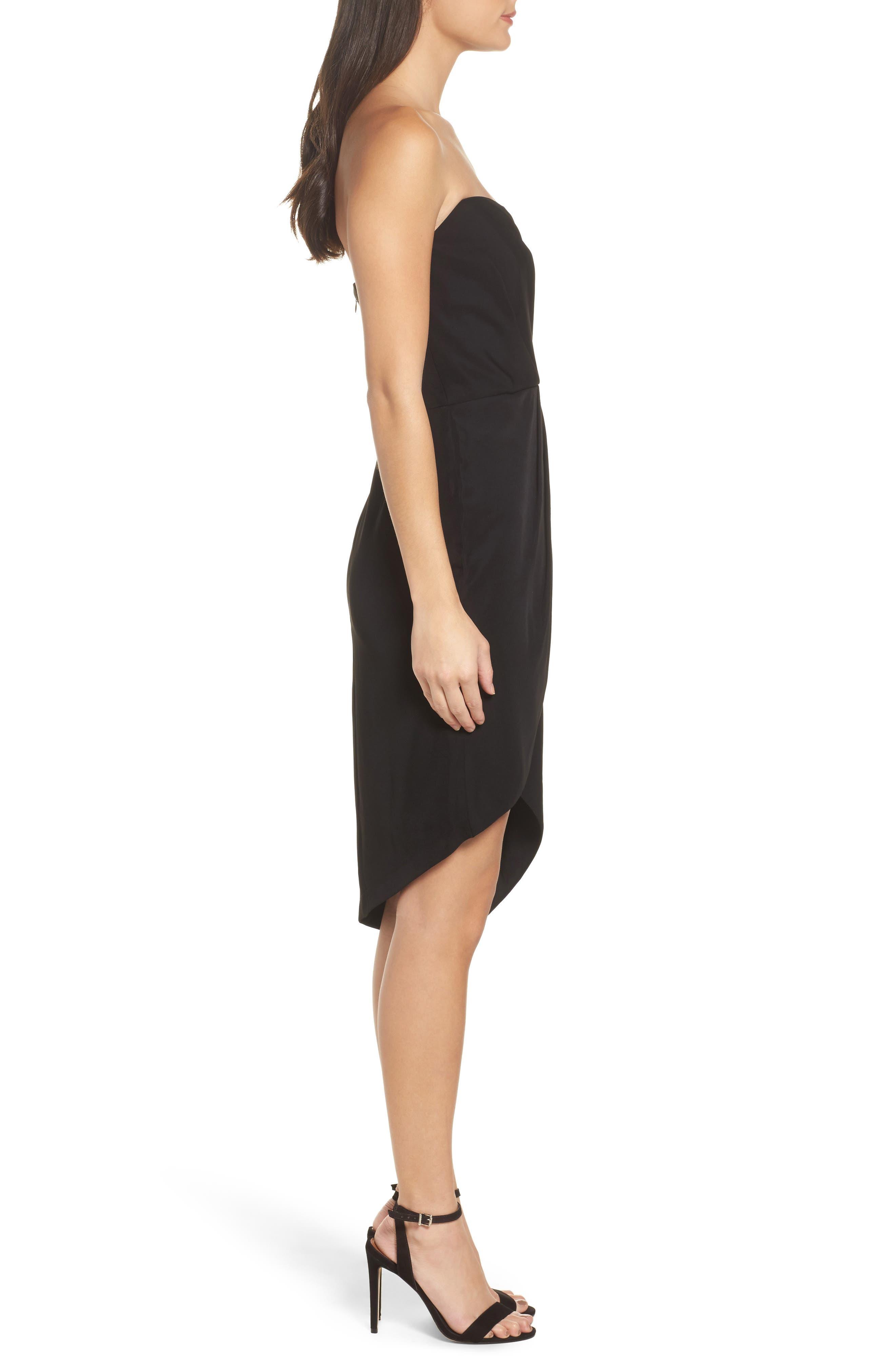 Loren Strapless Asymmetric Dress,                             Alternate thumbnail 3, color,