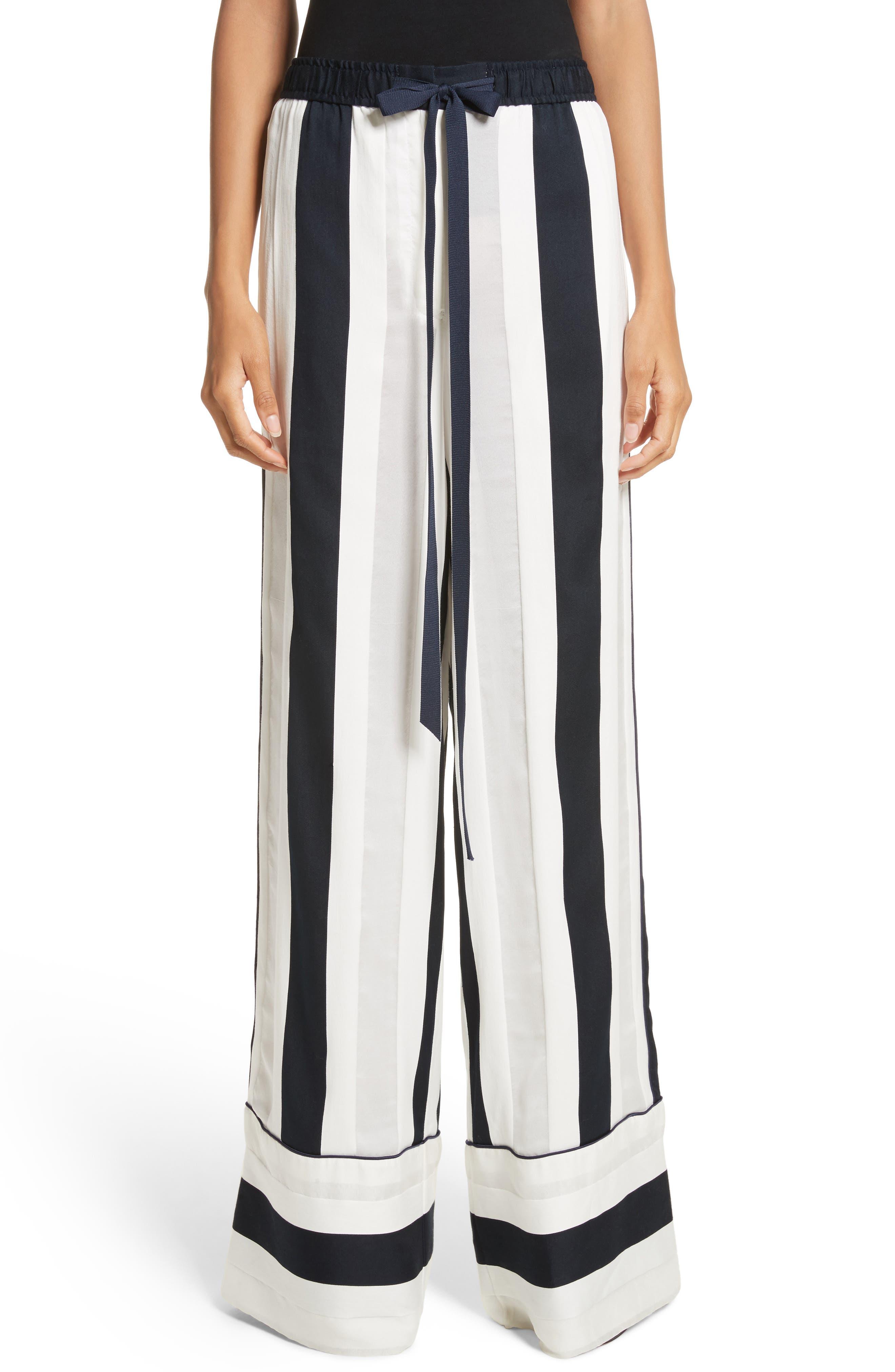 Cotton & Silk Stripe Jacquard Wide Leg Pants,                             Main thumbnail 1, color,