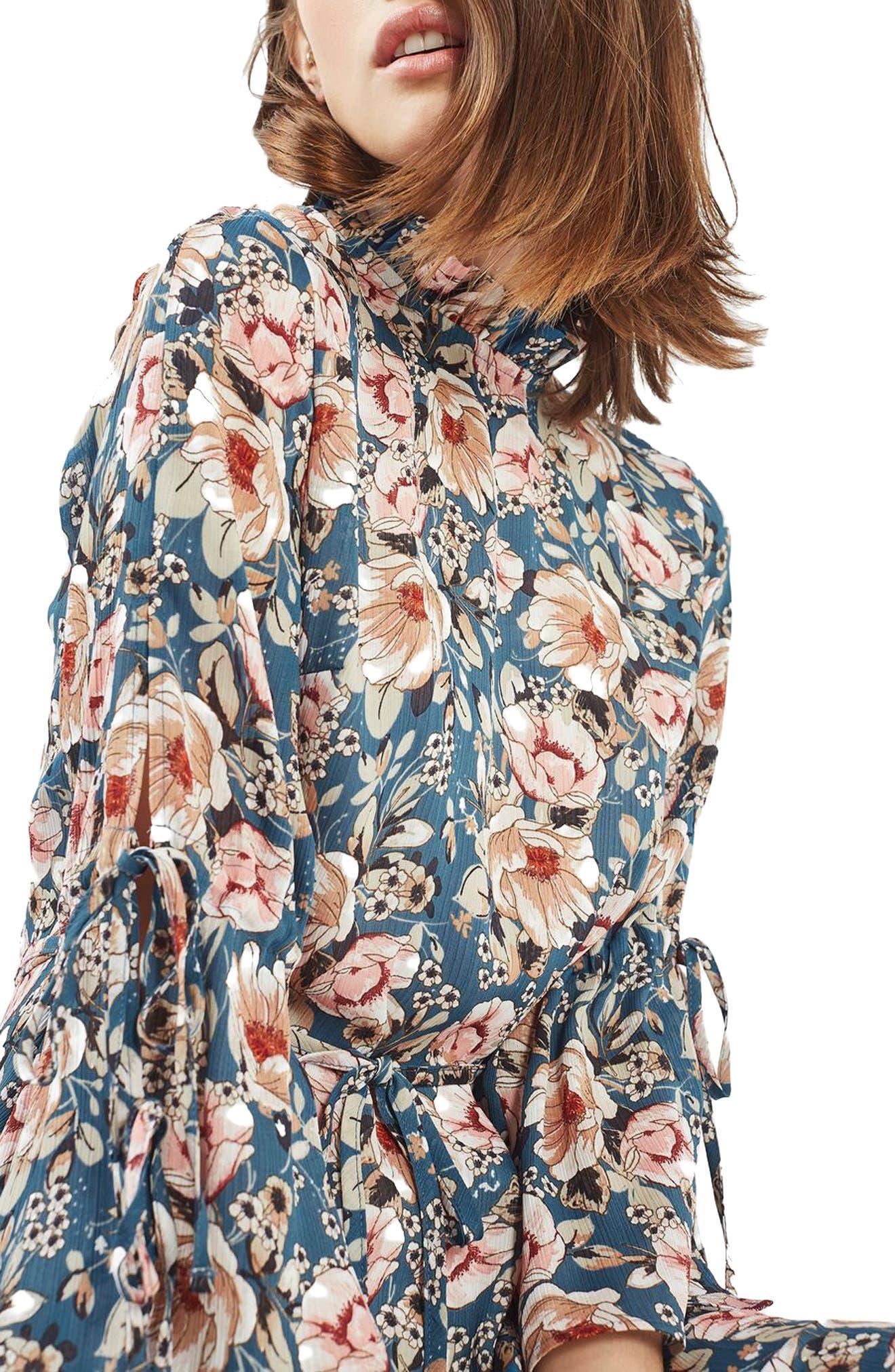Peony Print Tea Dress,                             Alternate thumbnail 3, color,                             400