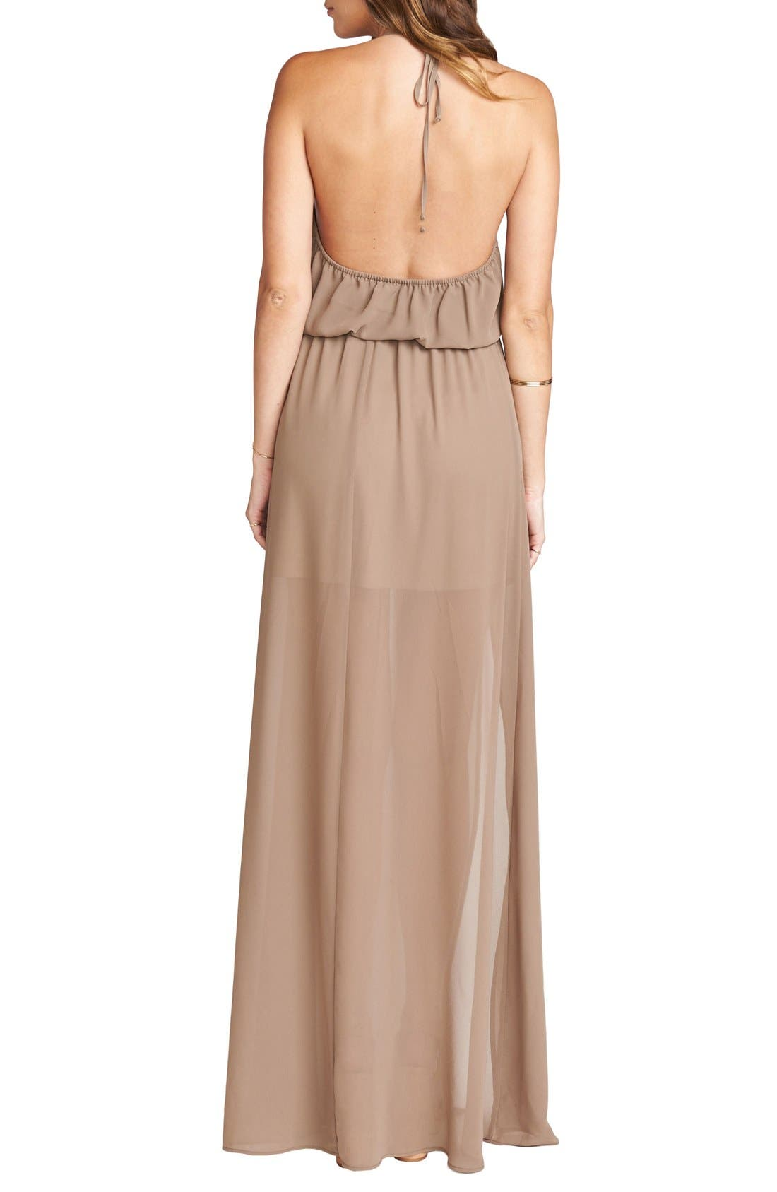 Heather Chiffon Halter Gown,                             Alternate thumbnail 16, color,