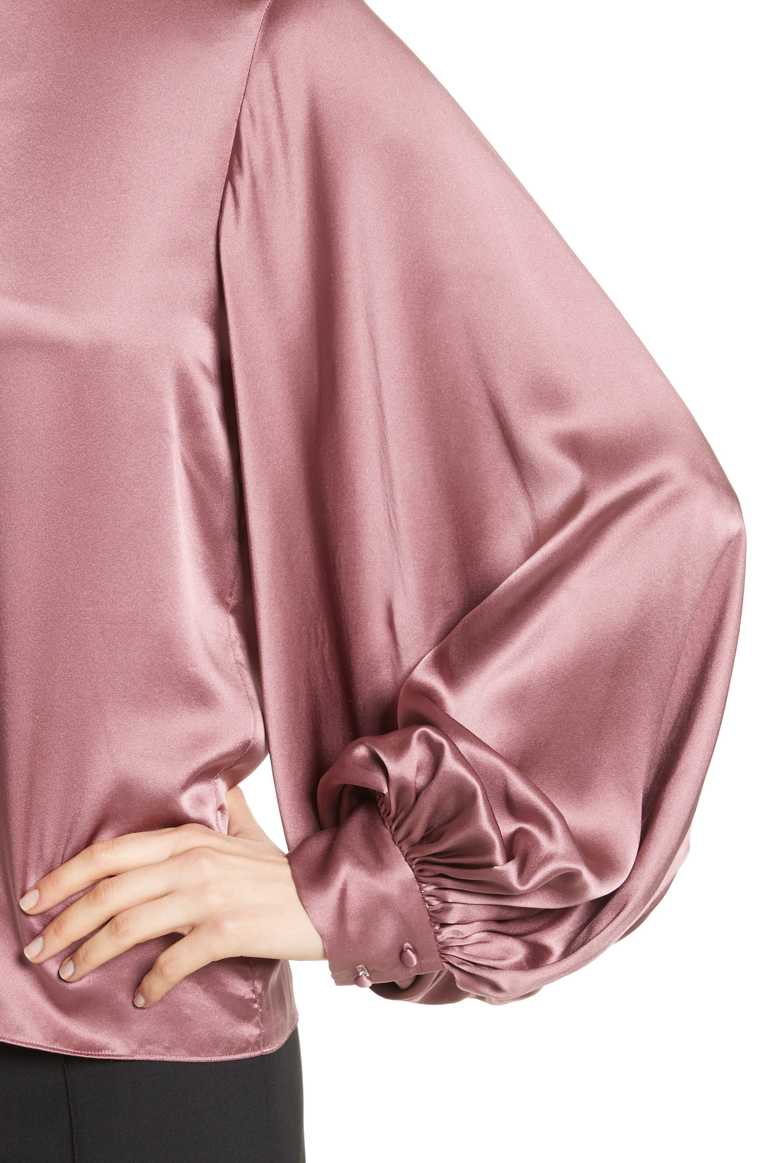 Loretta Silk Puff Sleeve Blouse,                             Alternate thumbnail 4, color,                             650