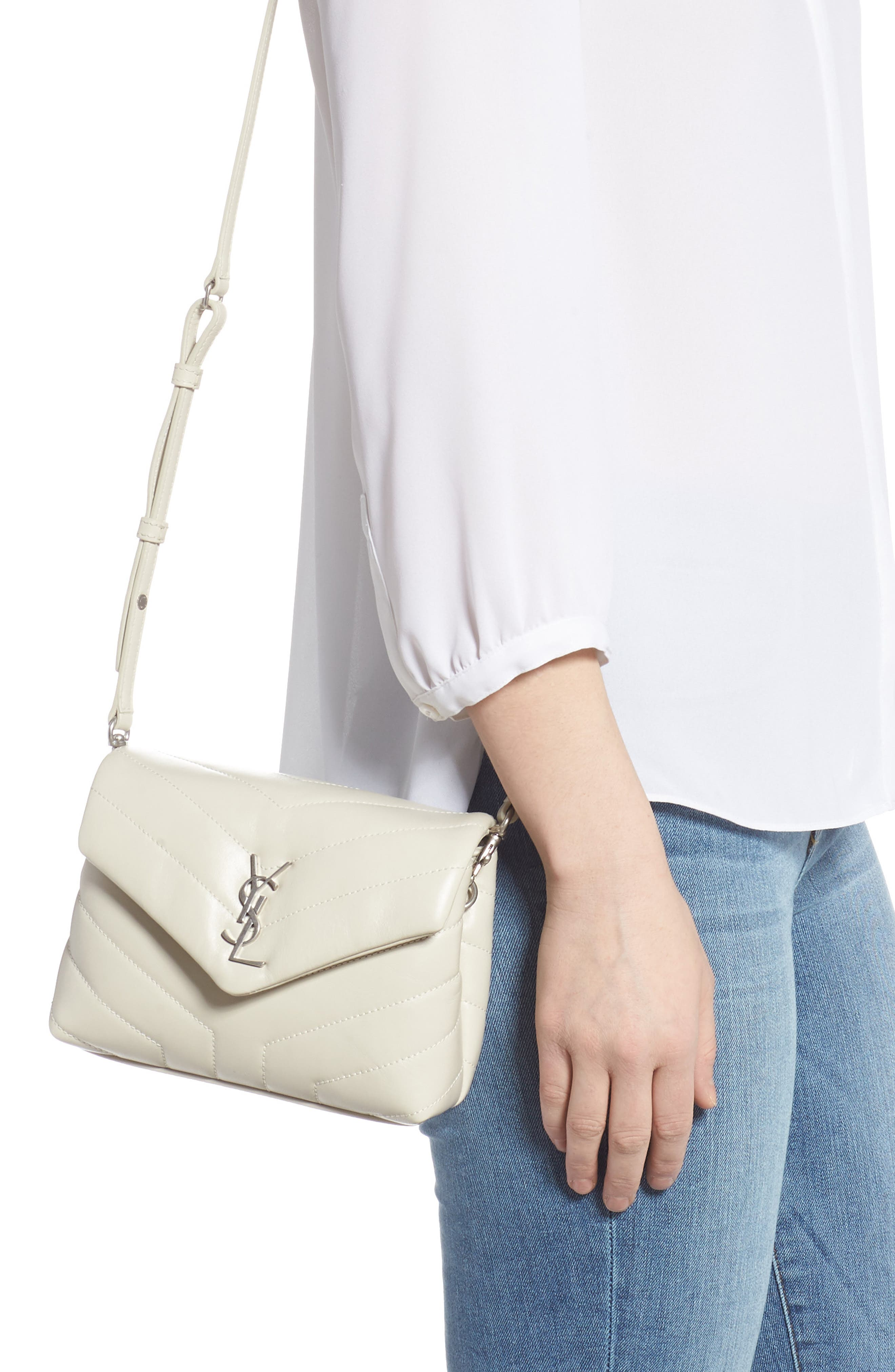 Toy Loulou Calfskin Leather Crossbody Bag in Crema Soft