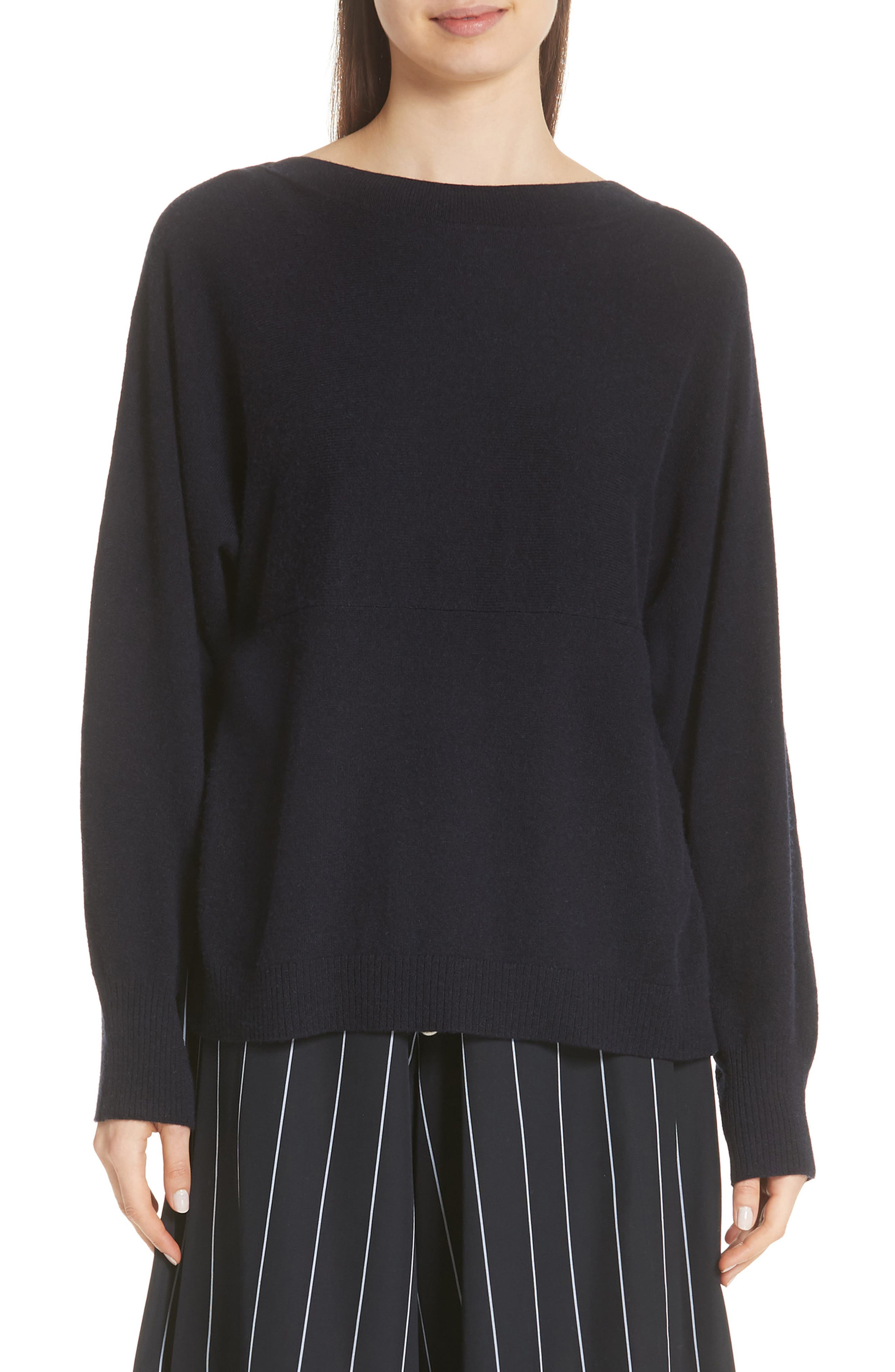 Layered Back Wool Cashmere Boatneck Sweater,                         Main,                         color, 403