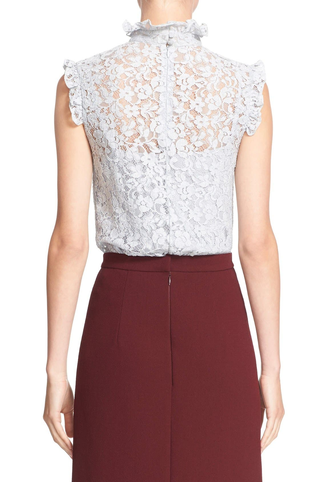 'Mika' Floral Lace High Collar Blouse,                             Alternate thumbnail 4, color,                             450