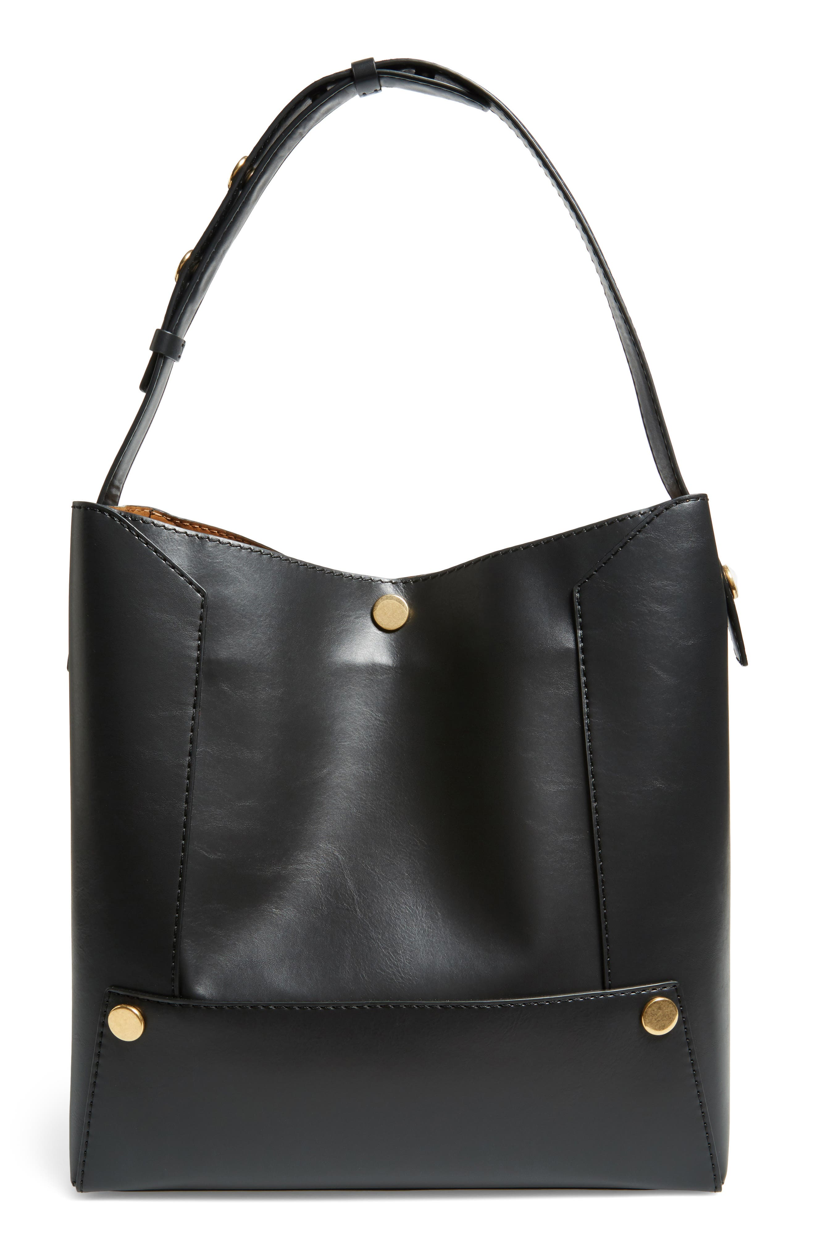 Faux Leather Bucket Bag,                             Alternate thumbnail 3, color,                             001