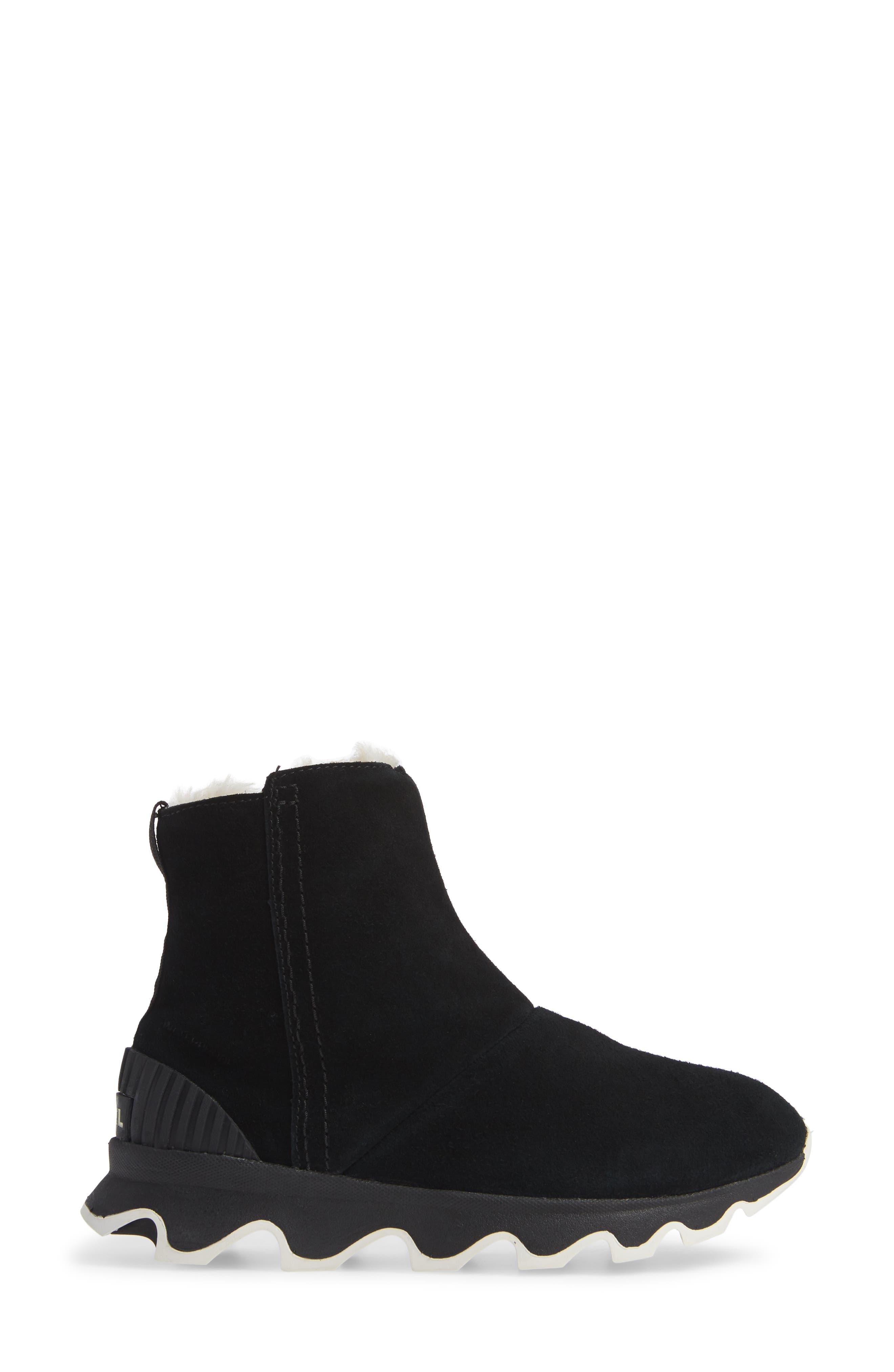 Kinetic Insulated Waterproof Short Boots,                             Alternate thumbnail 3, color,                             BLACK/ SEA SALT