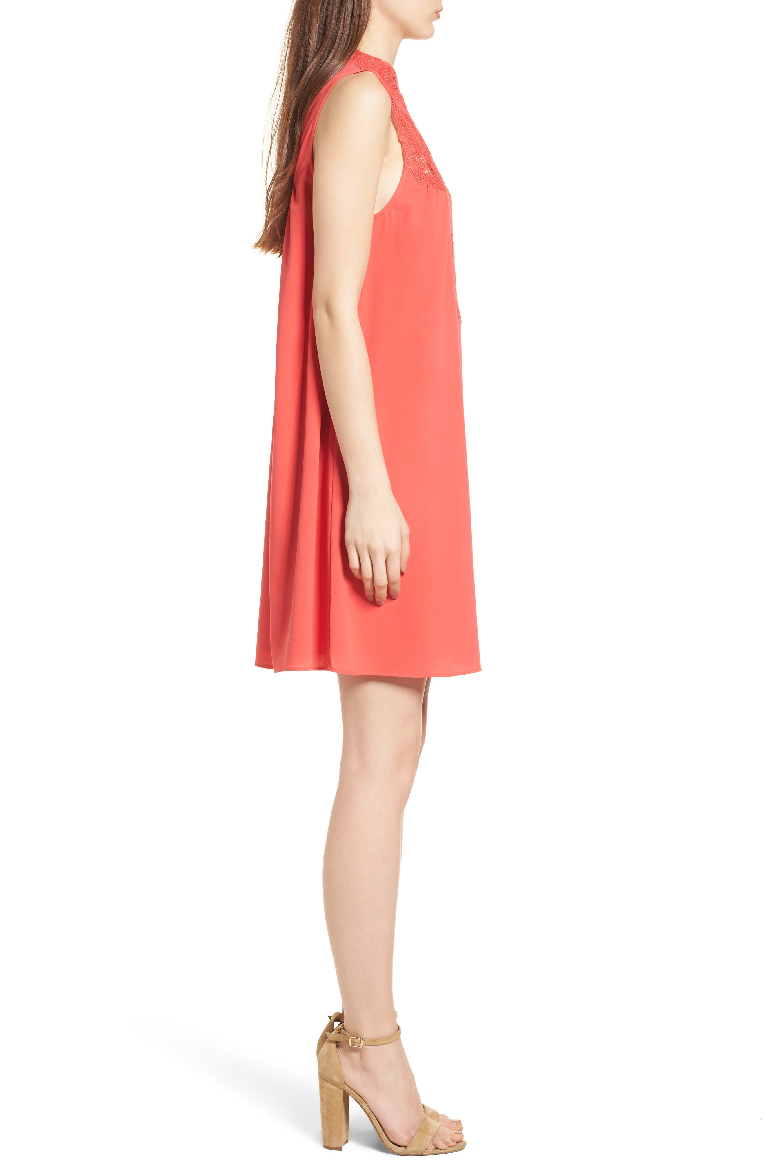 Swing Dress,                             Alternate thumbnail 3, color,                             RED HIBISCUS