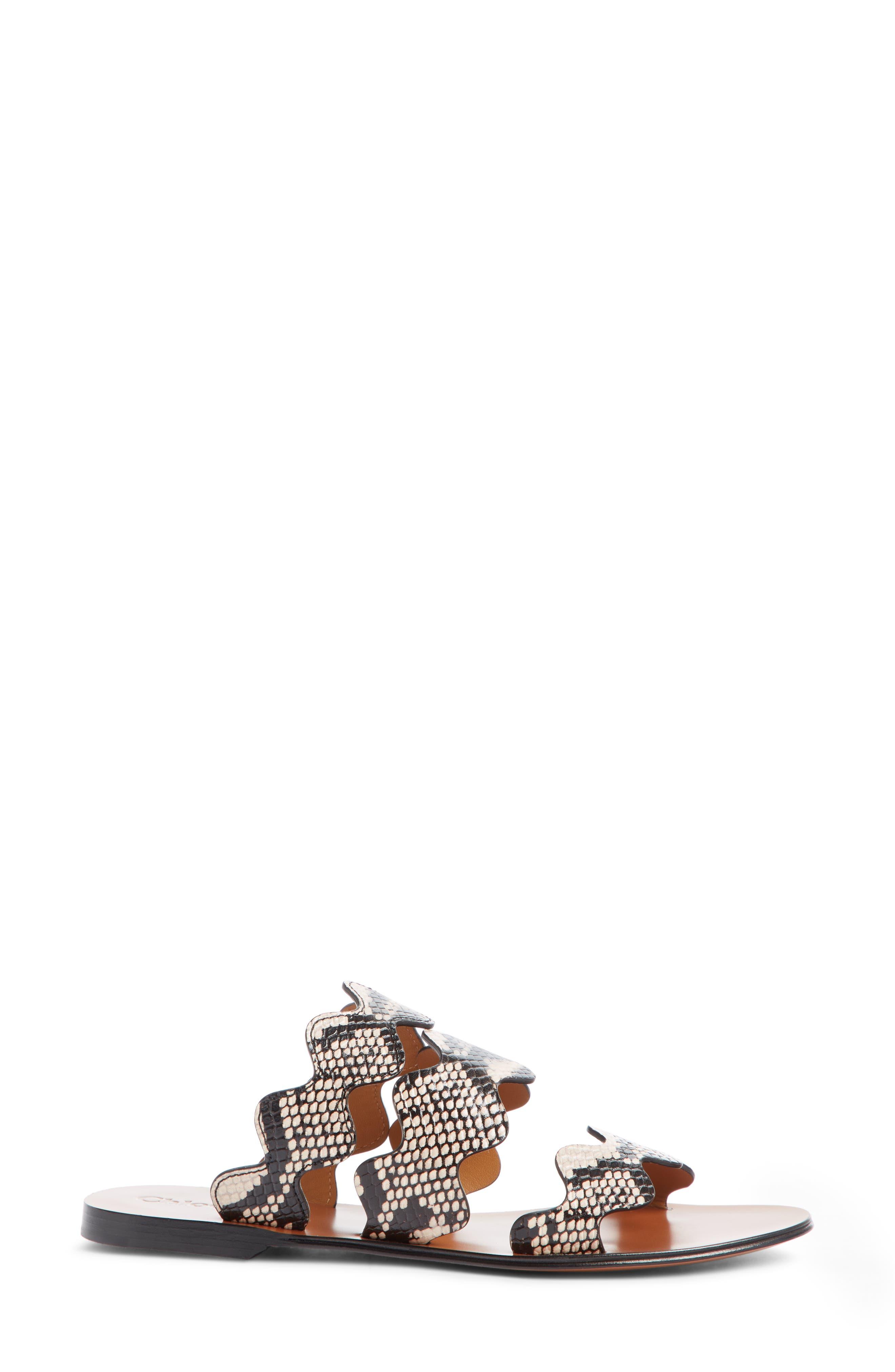 Lauren Scalloped Slide Sandal,                             Alternate thumbnail 3, color,                             ETERNAL GREY LEATHER