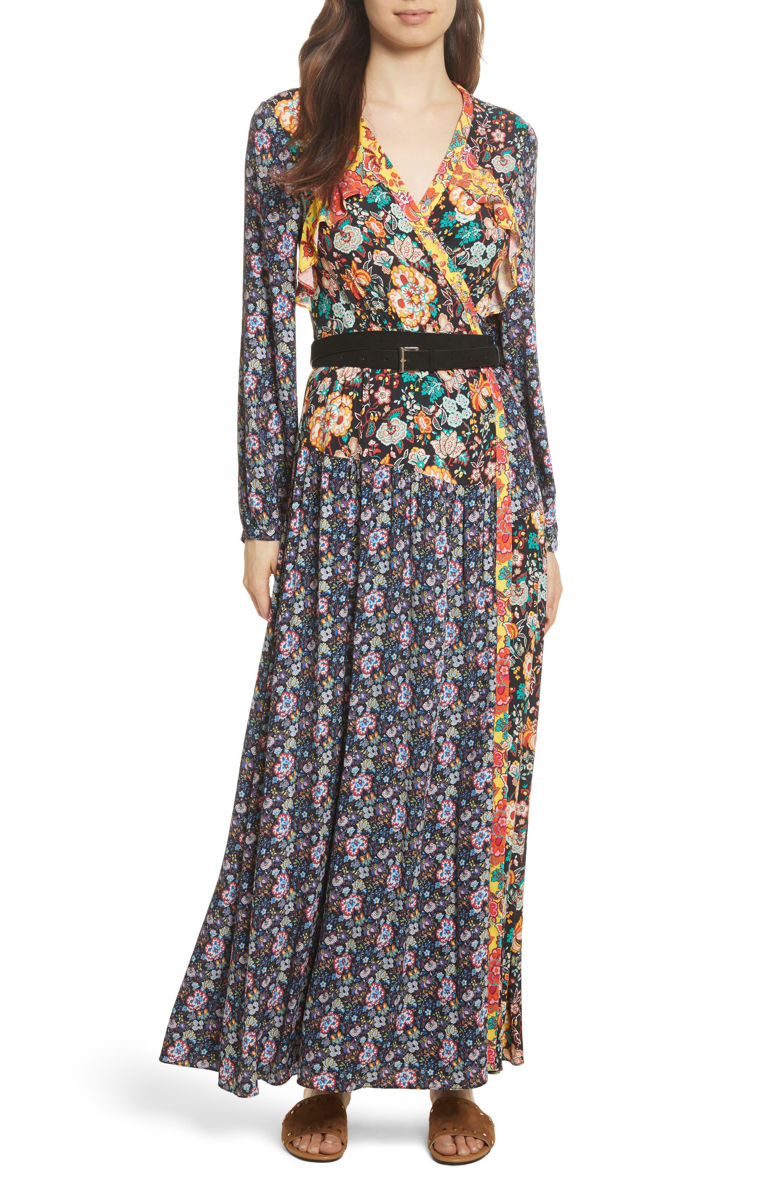 Mixed Floral Wrap Dress,                             Alternate thumbnail 7, color,