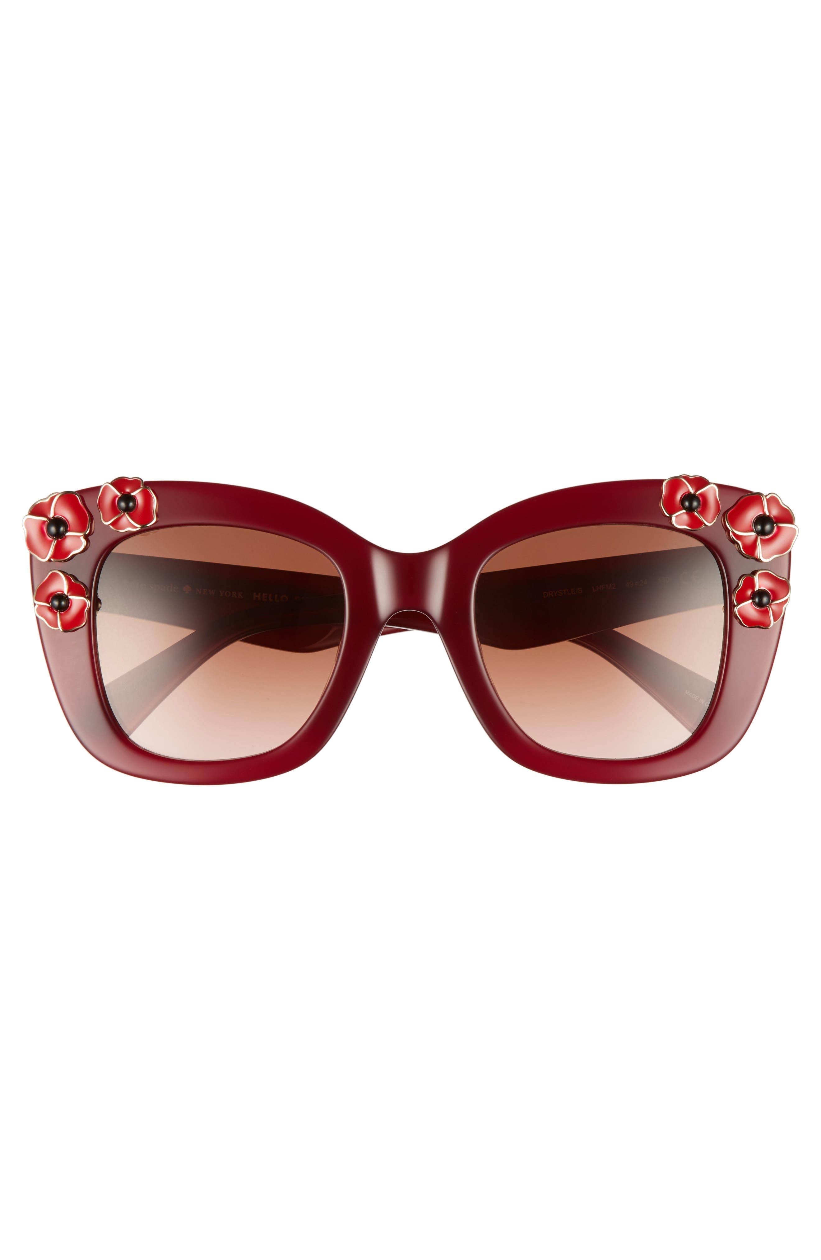 kate spade drystle 49mm floral embellished square sunglasses,                             Alternate thumbnail 6, color,