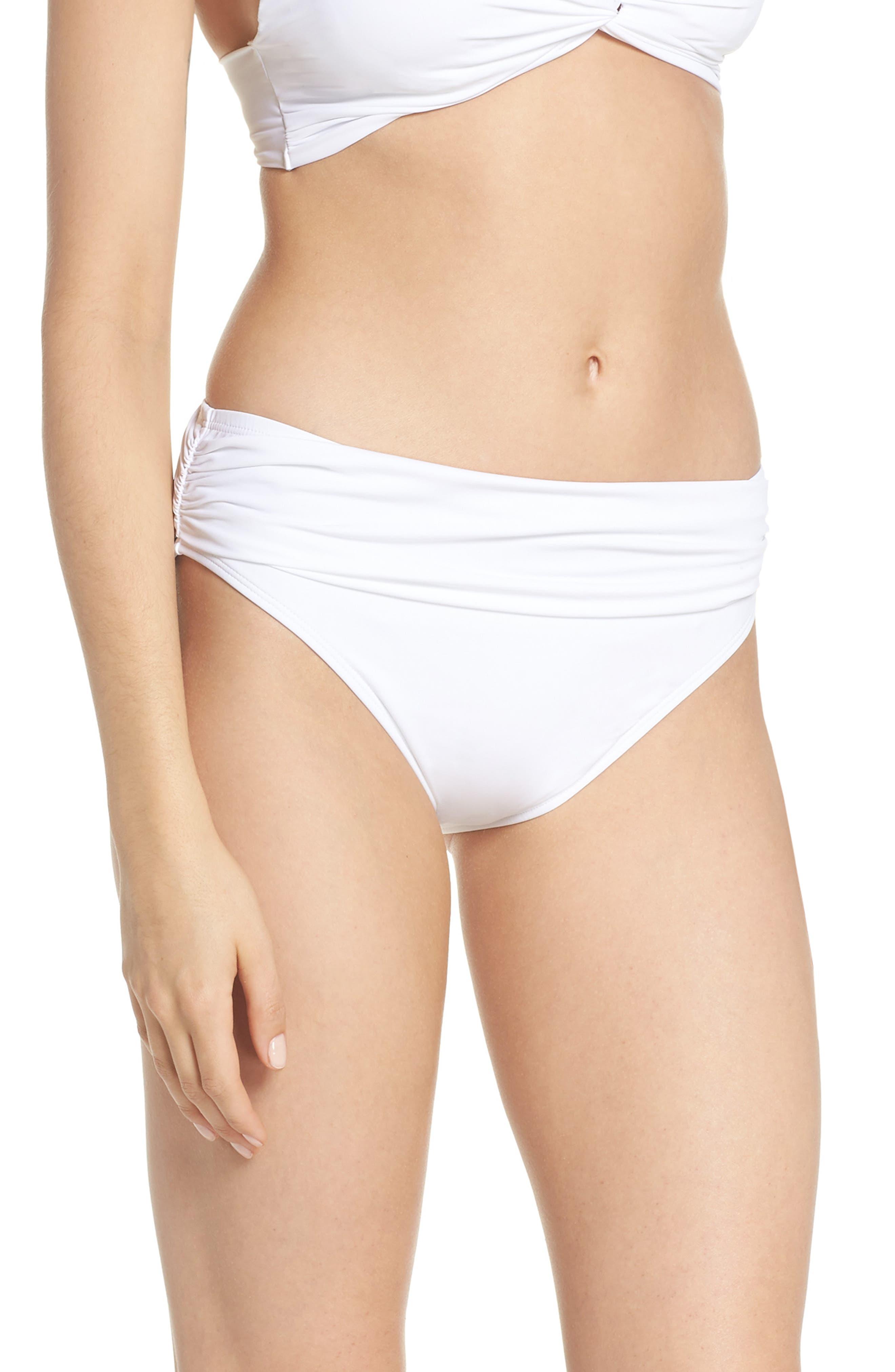 'Pearl' High Waist Bikini Bottoms,                             Alternate thumbnail 3, color,                             100