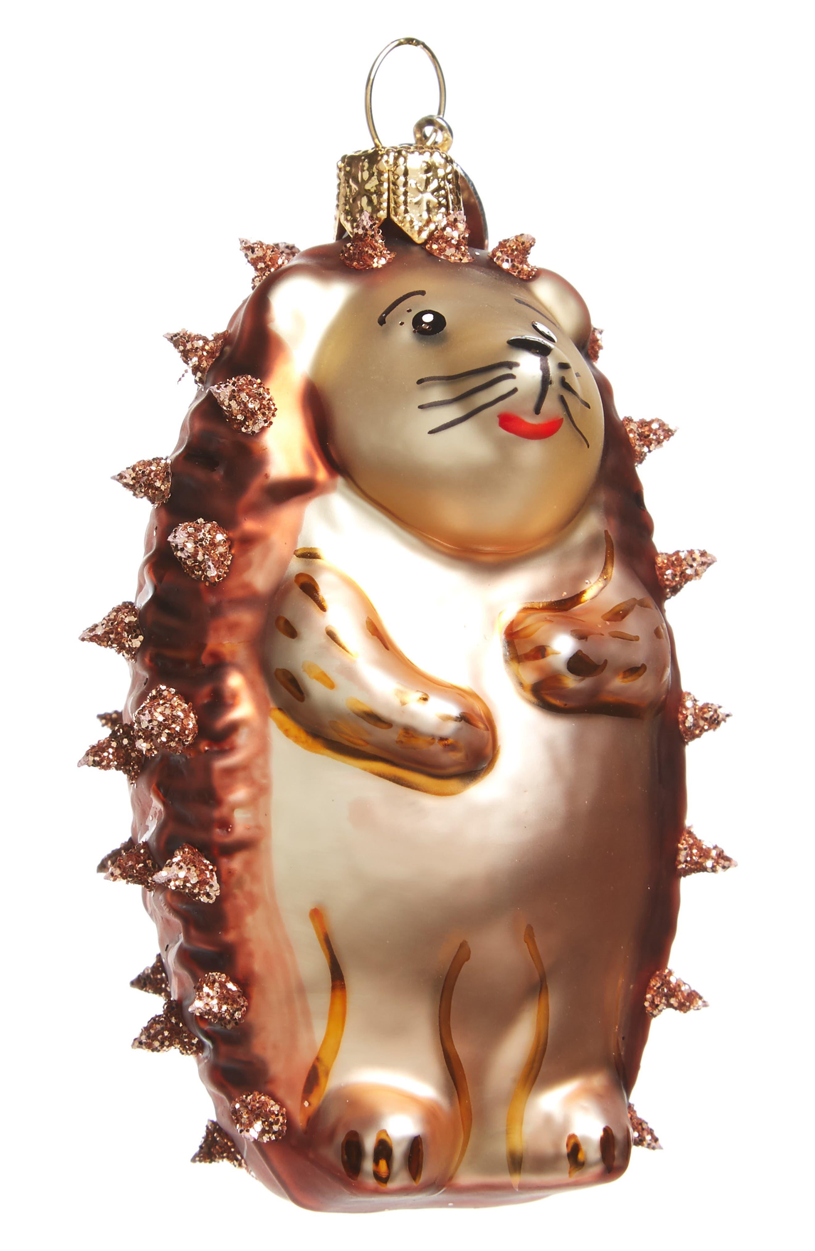 Hedgehog Glass Ornament,                         Main,                         color, 200