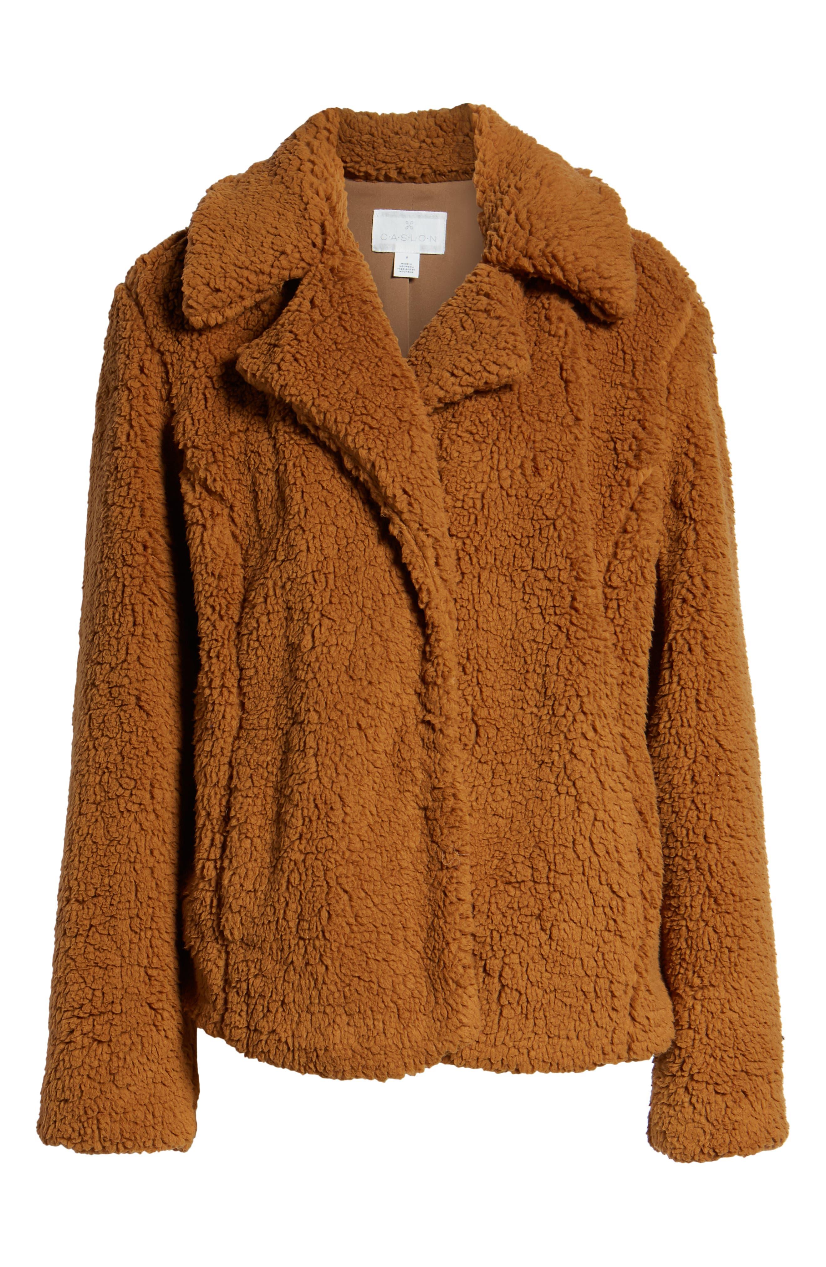 Faux Shearling Jacket,                             Alternate thumbnail 6, color,                             BROWN SADDLE