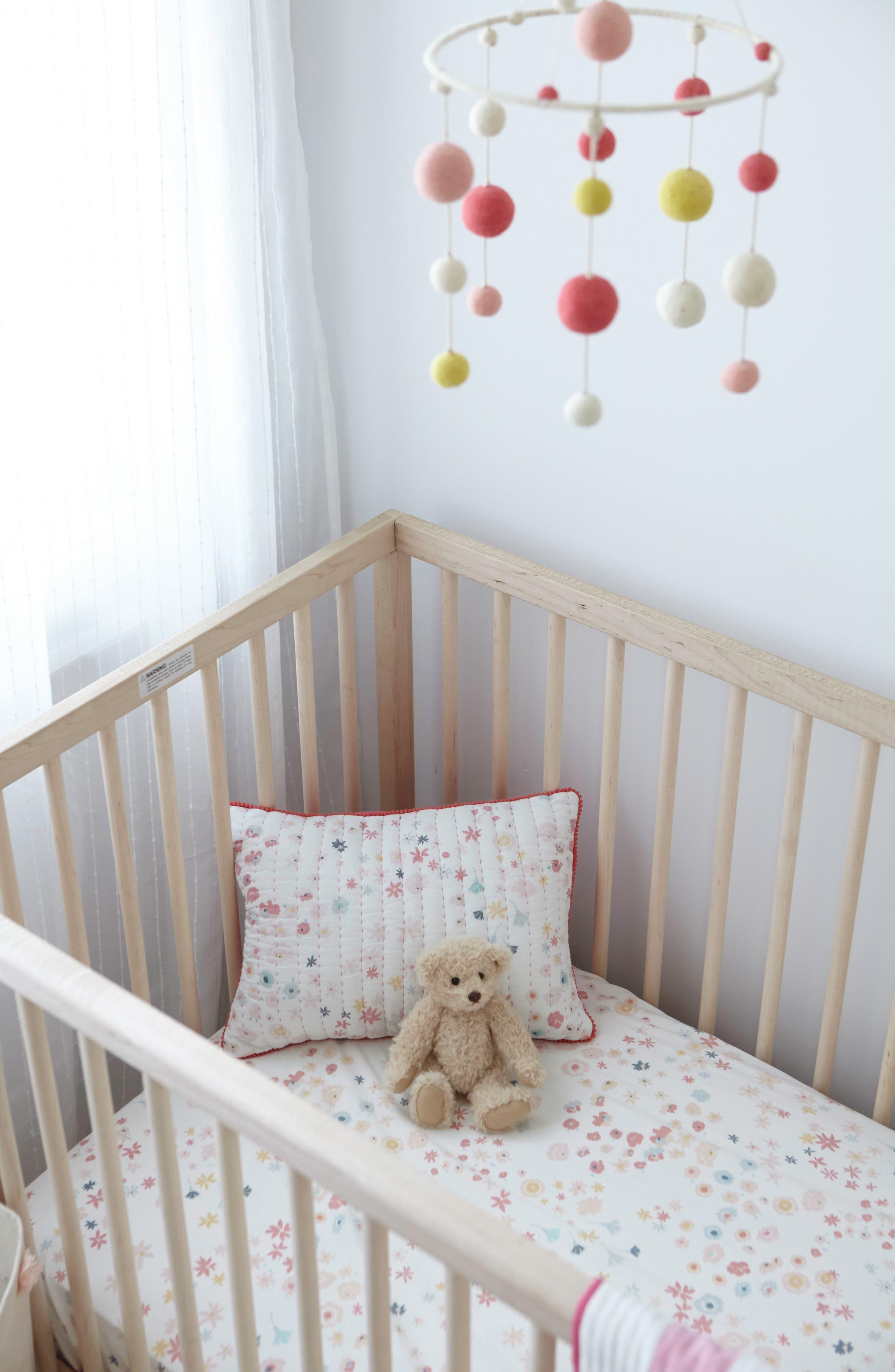 Showers Crib Sheet, Swaddle, Blanket & Pillow Set,                             Alternate thumbnail 3, color,                             PINK