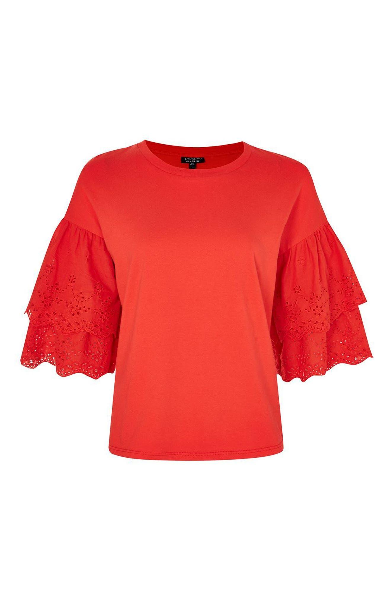 Eyelet Layer Sleeve Tee T-Shirt,                             Alternate thumbnail 14, color,