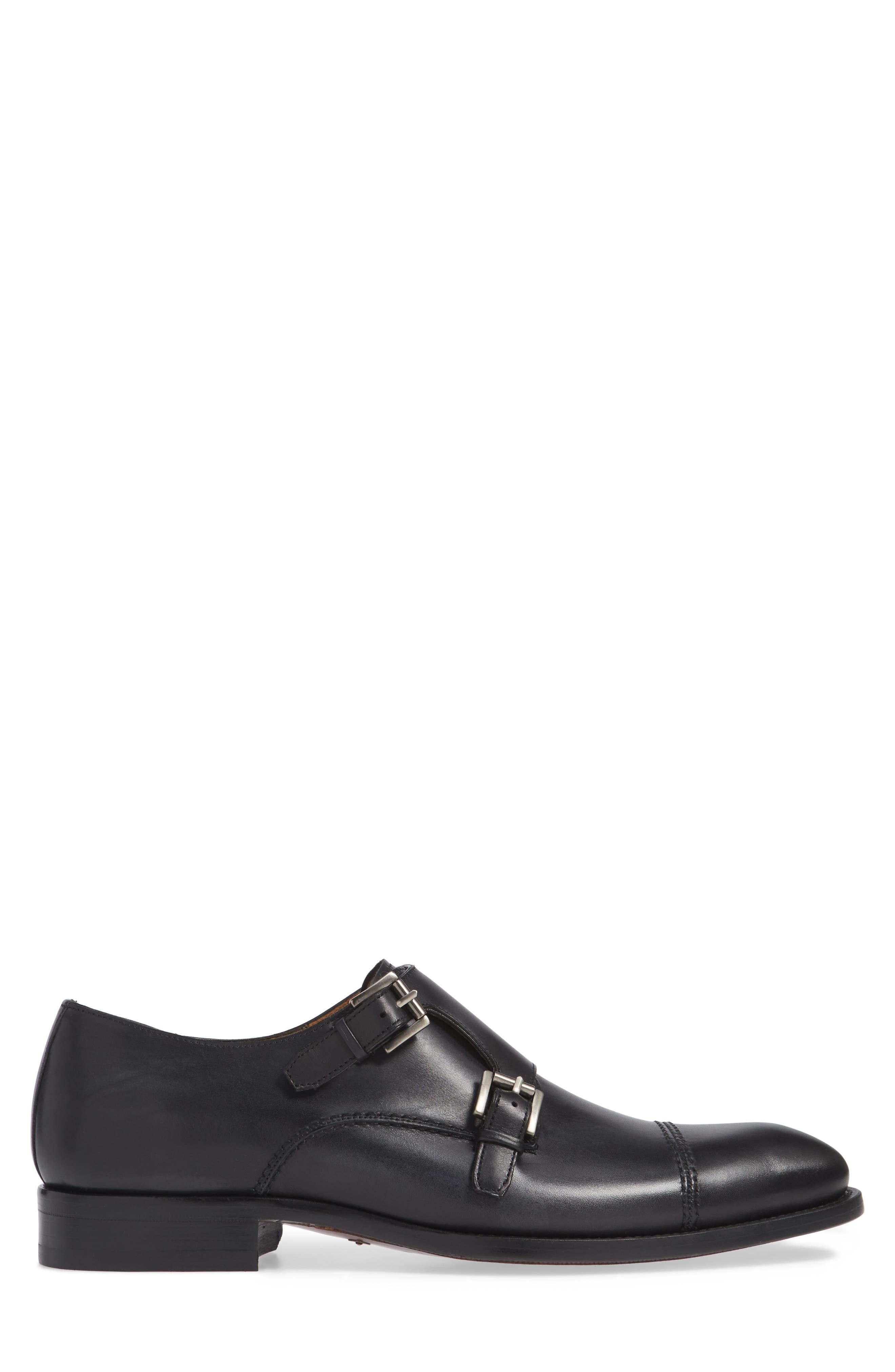 Acosta Double Strap Cap Toe Monk Shoe,                             Alternate thumbnail 3, color,                             BLACK LEATHER