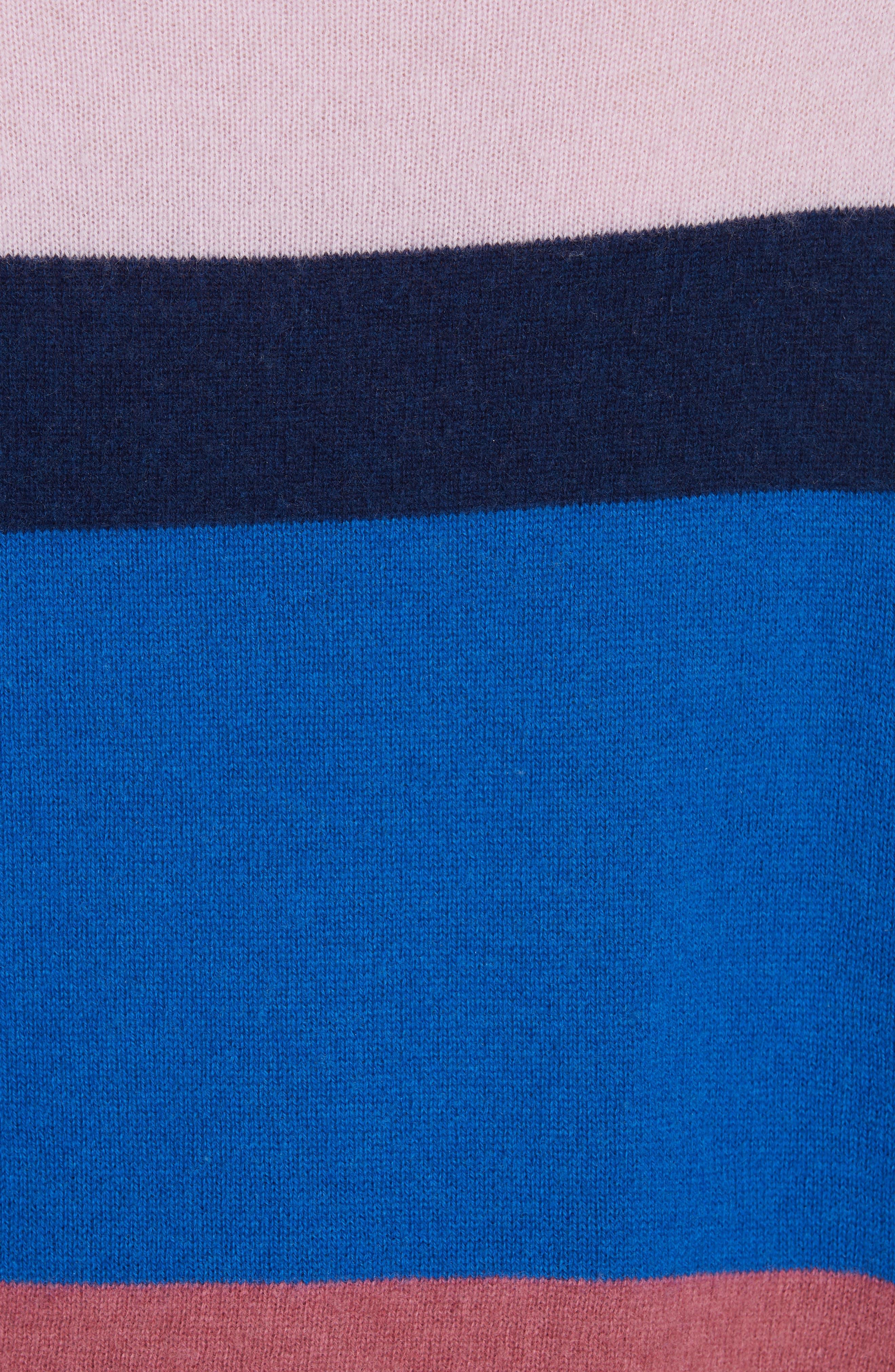 Stripe Mock Neck Cashmere Pullover,                             Alternate thumbnail 5, color,                             ROYAL BLUE MULTI