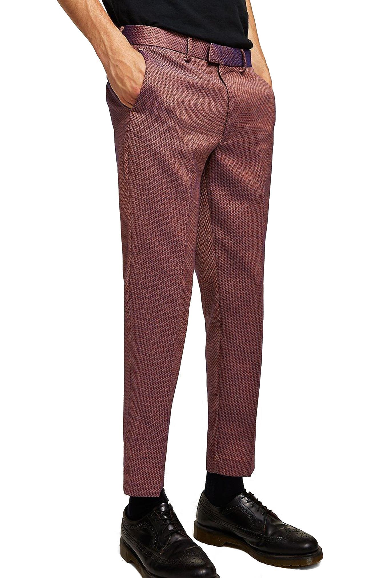 Skinny Fit Jacquard Trousers,                             Main thumbnail 1, color,                             RED