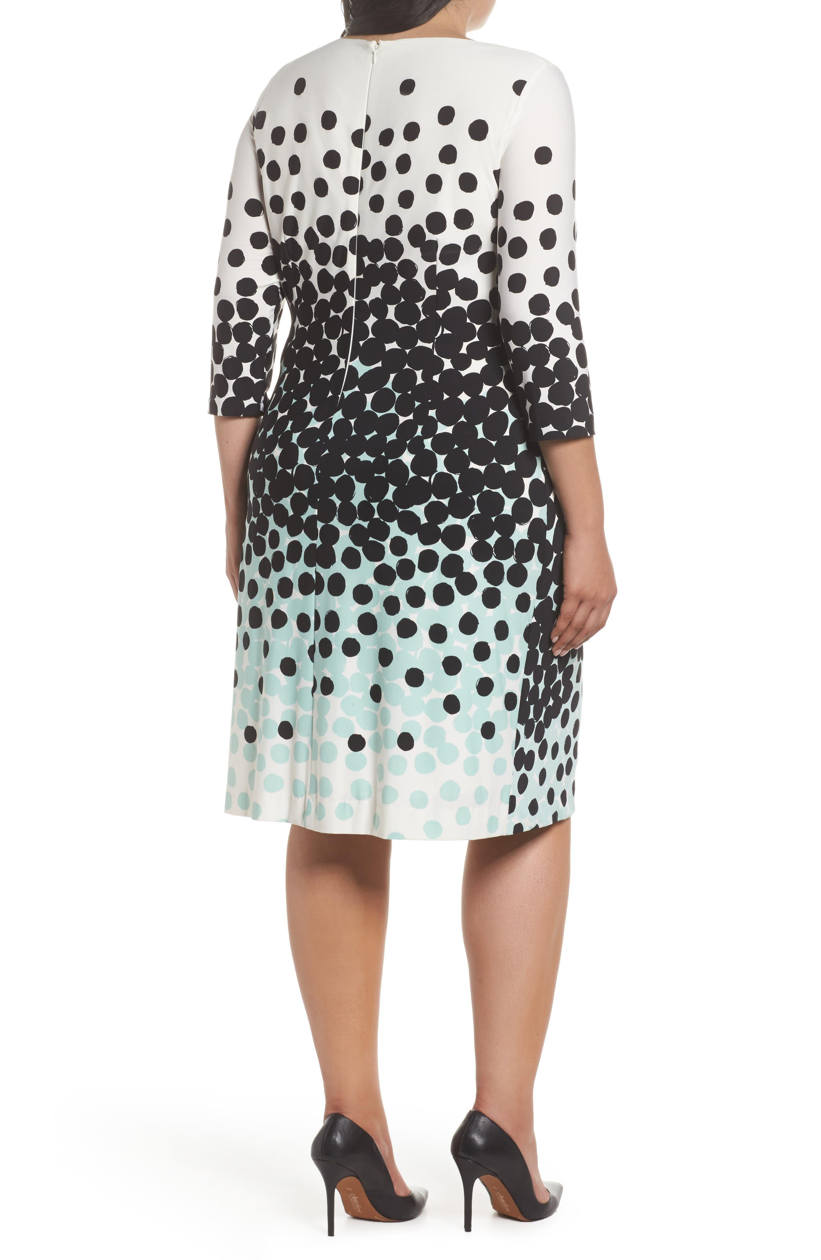 Dot Print Sheath Dress,                             Alternate thumbnail 2, color,                             001