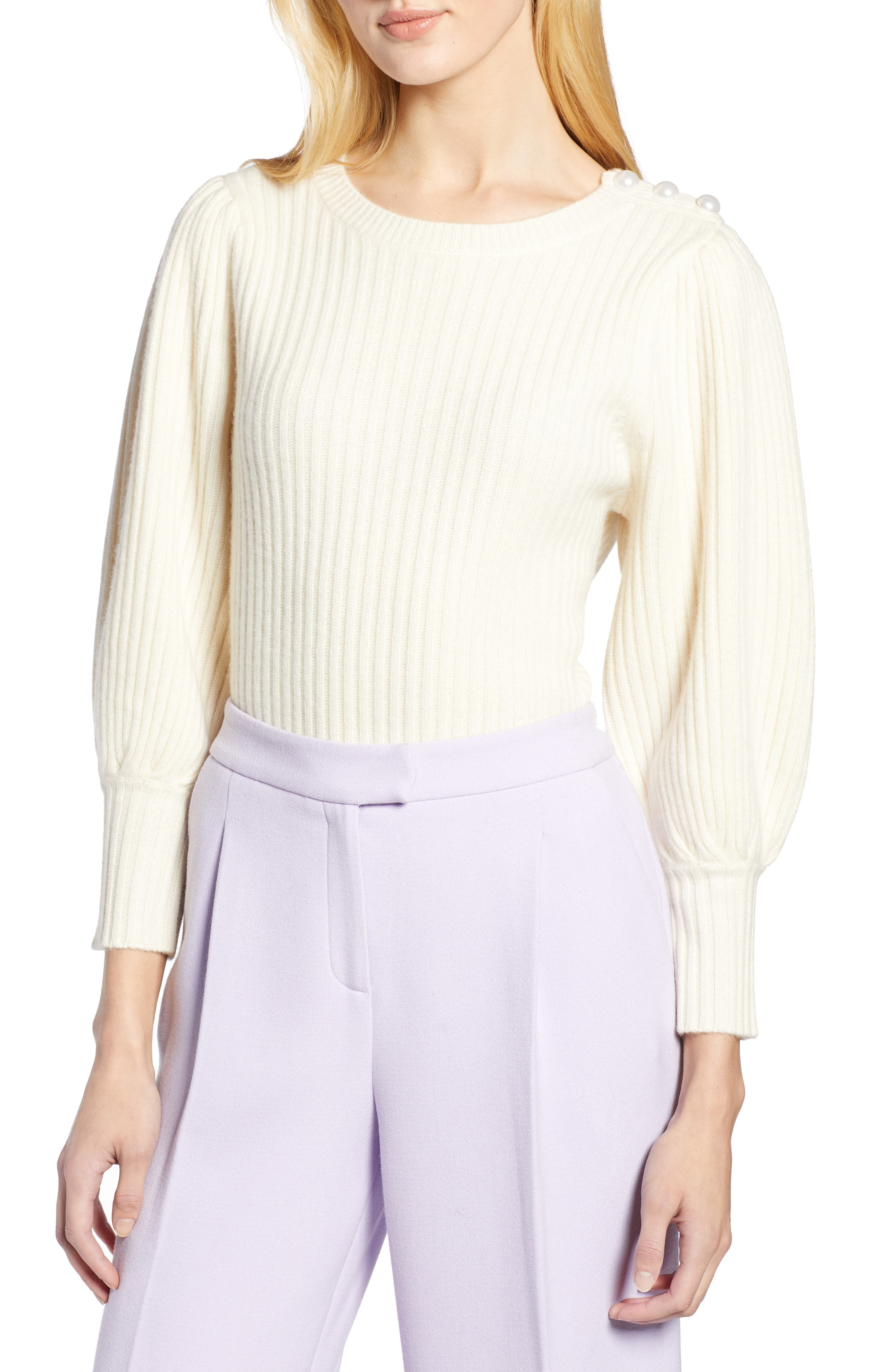 X Atlantic Pacific Balloon Sleeve Wool & Cashmere Sweater by Halogen®