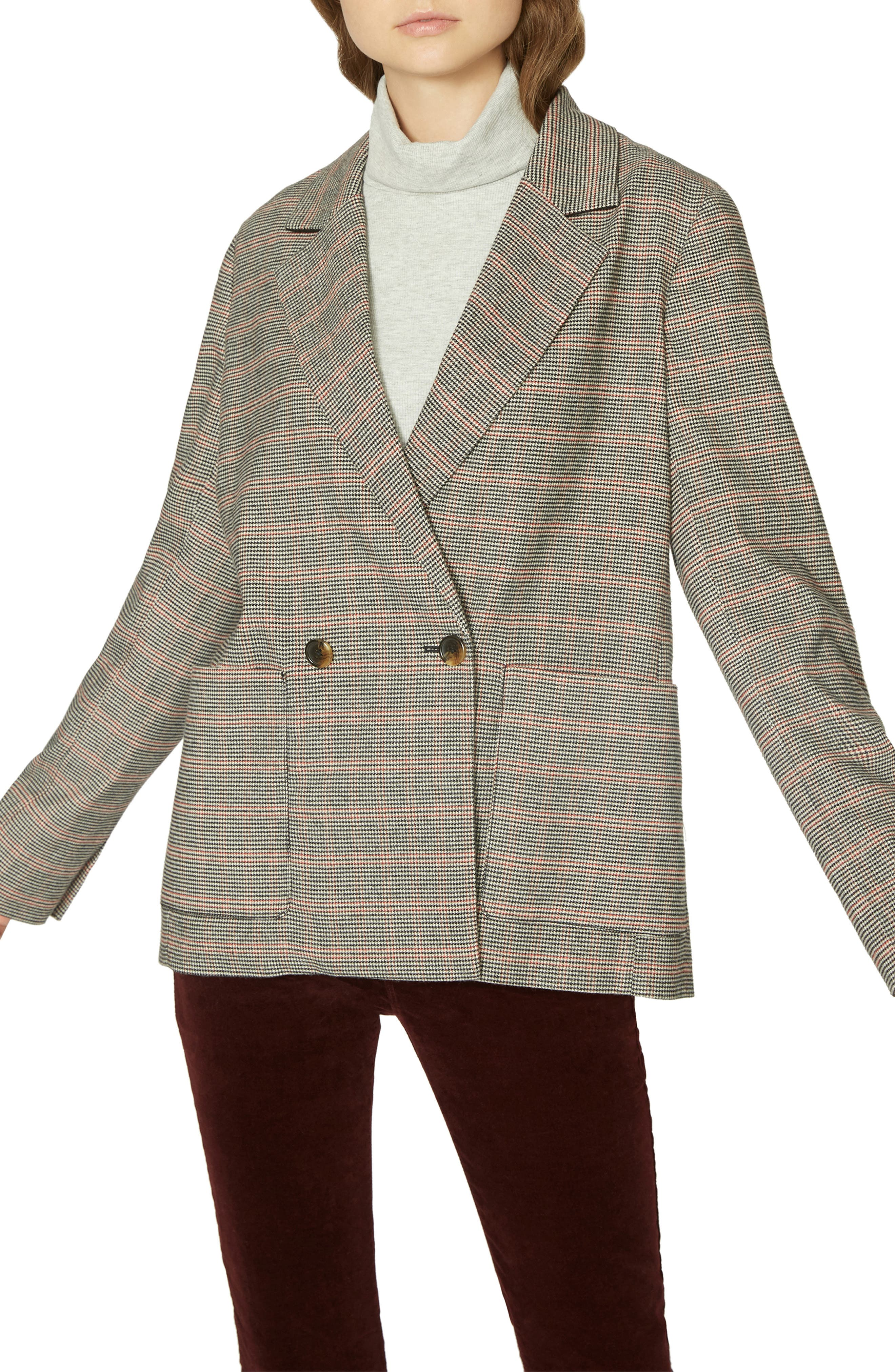 Vintage Coats & Jackets | Retro Coats and Jackets Womens Sanctuary Heritage Plaid Boyfriend Blazer Size XX-Large - Black $89.40 AT vintagedancer.com