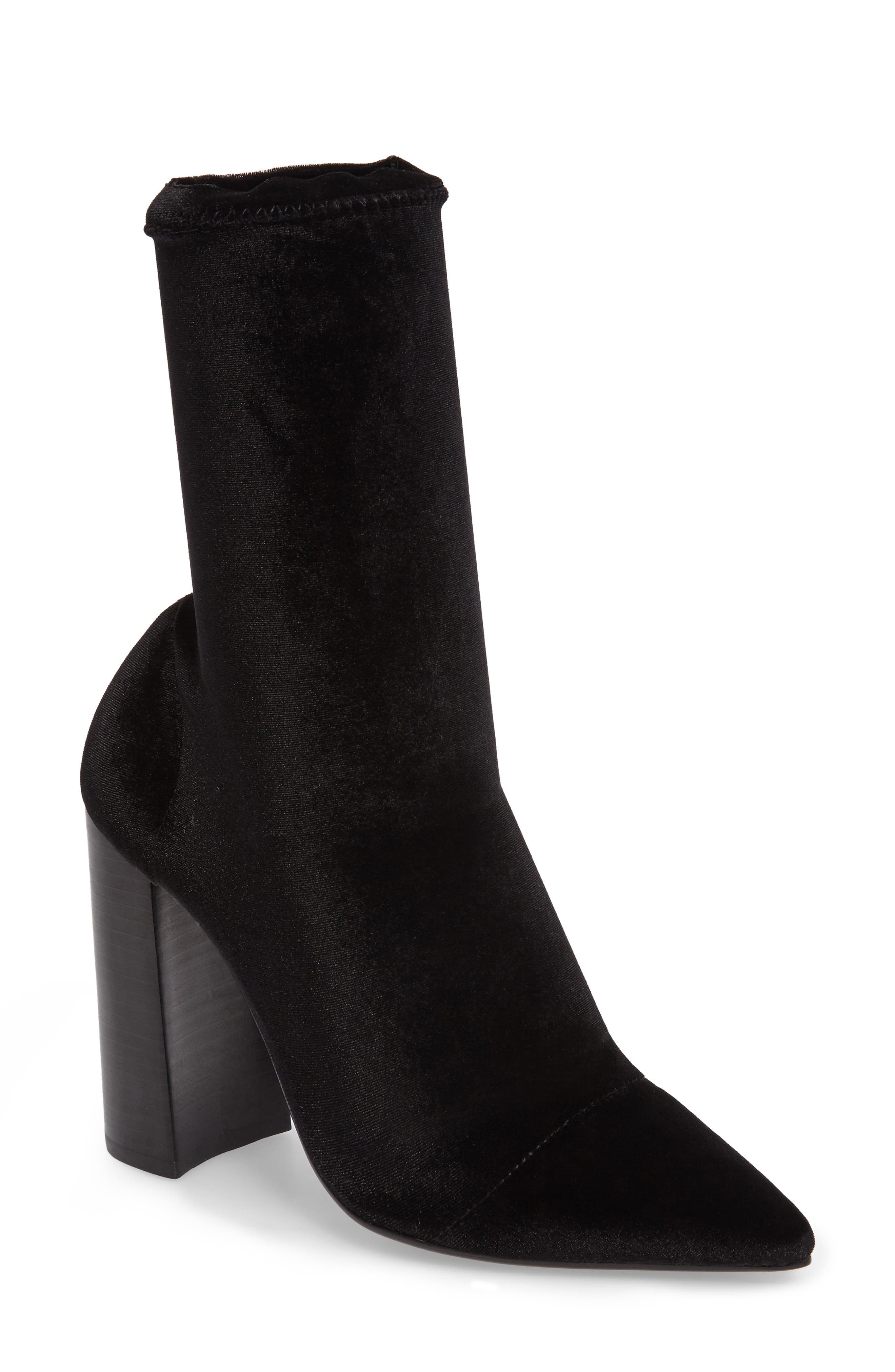 Diddy Velvet Bootie,                             Main thumbnail 1, color,                             BLACK FABRIC