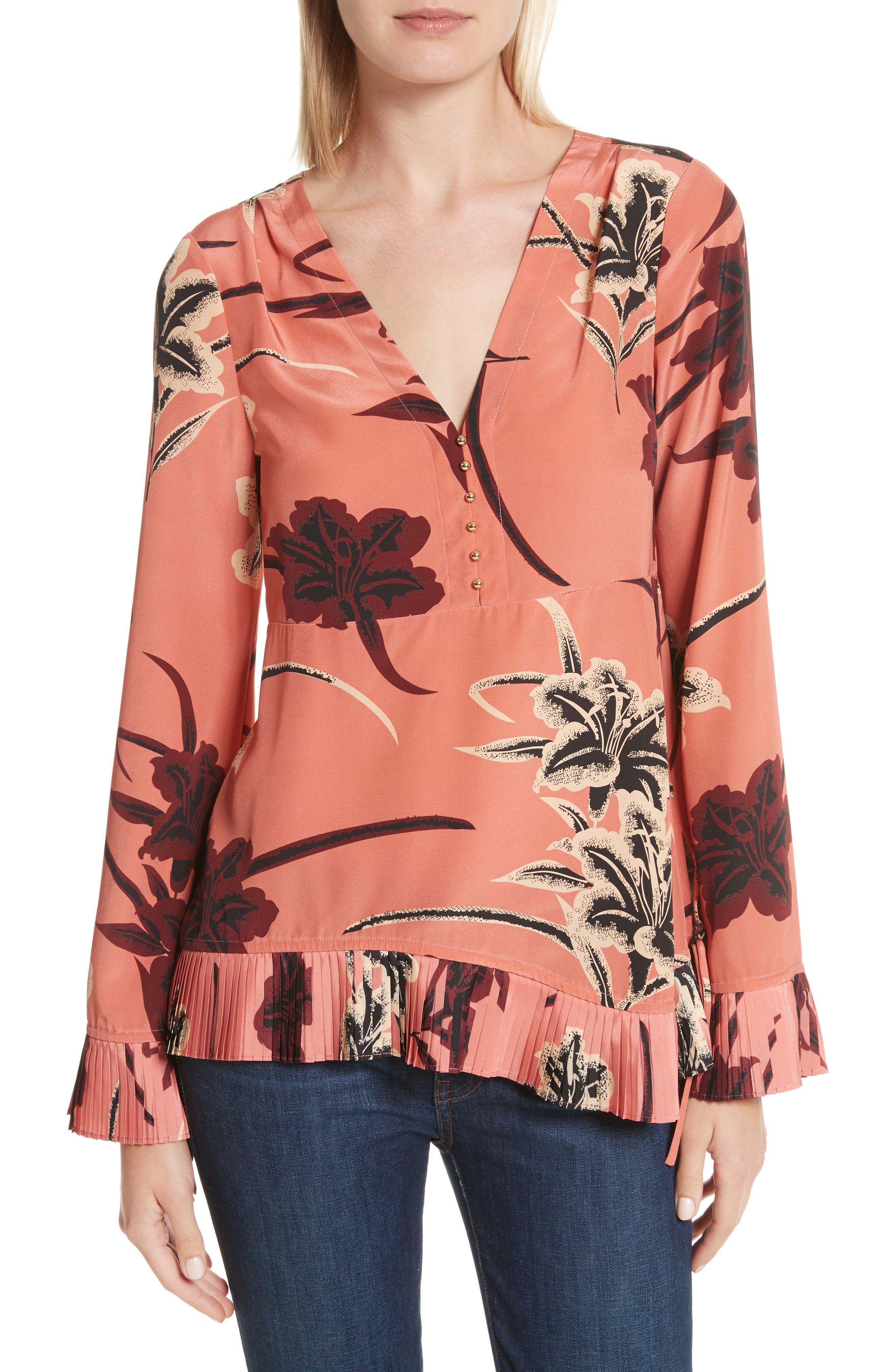 V-Neck Pleated Hem Silk Blouse,                         Main,                         color,