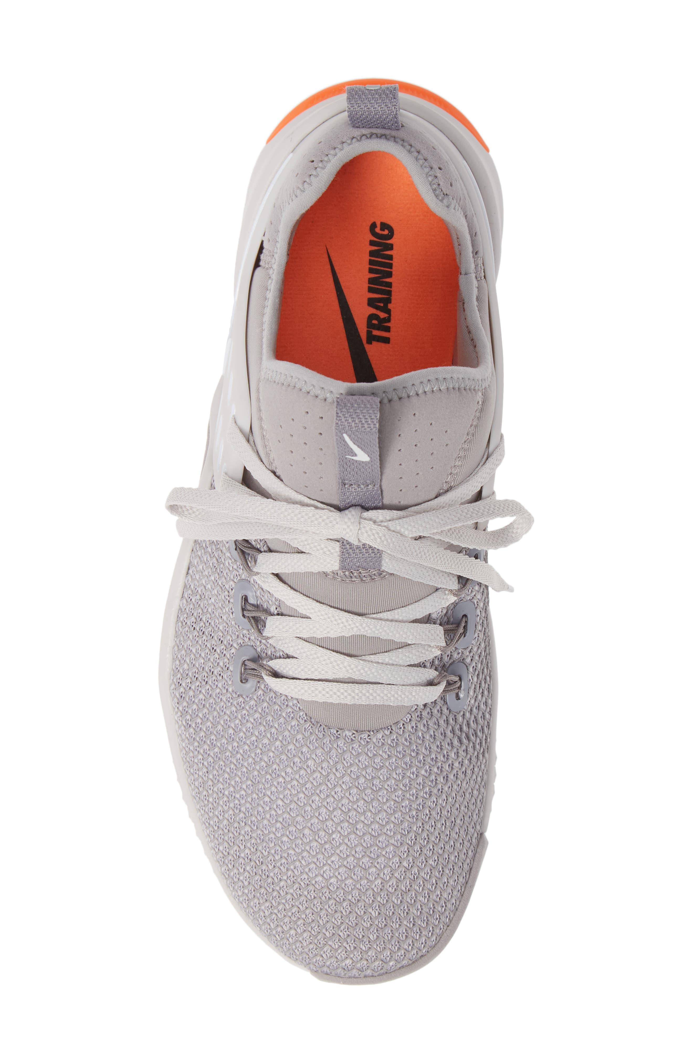 Free x Metcon Training Shoe,                             Alternate thumbnail 5, color,                             GREY/ WHITE/ CRIMSON
