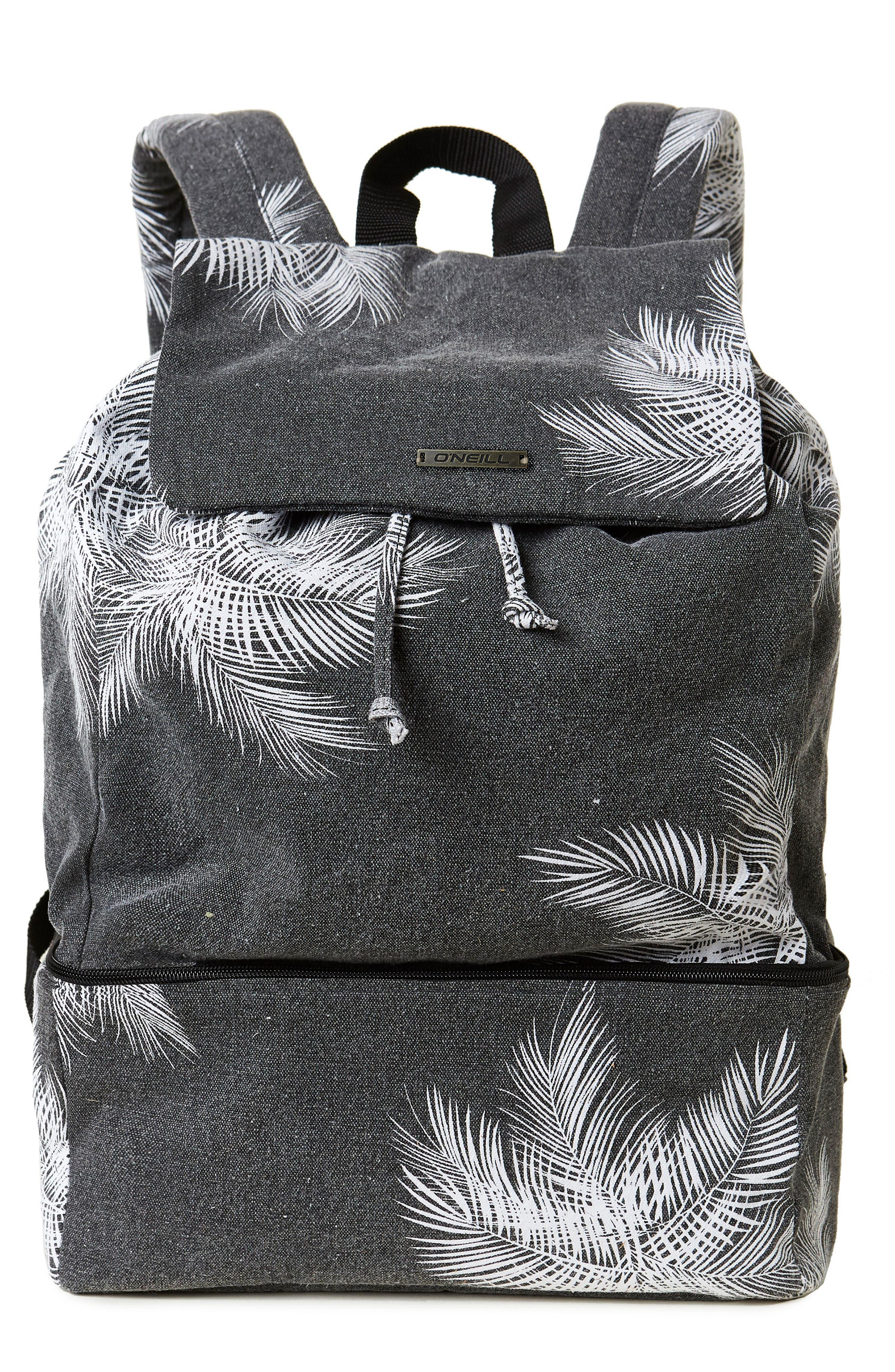 Chillin Print Canvas Backpack,                         Main,                         color, 001