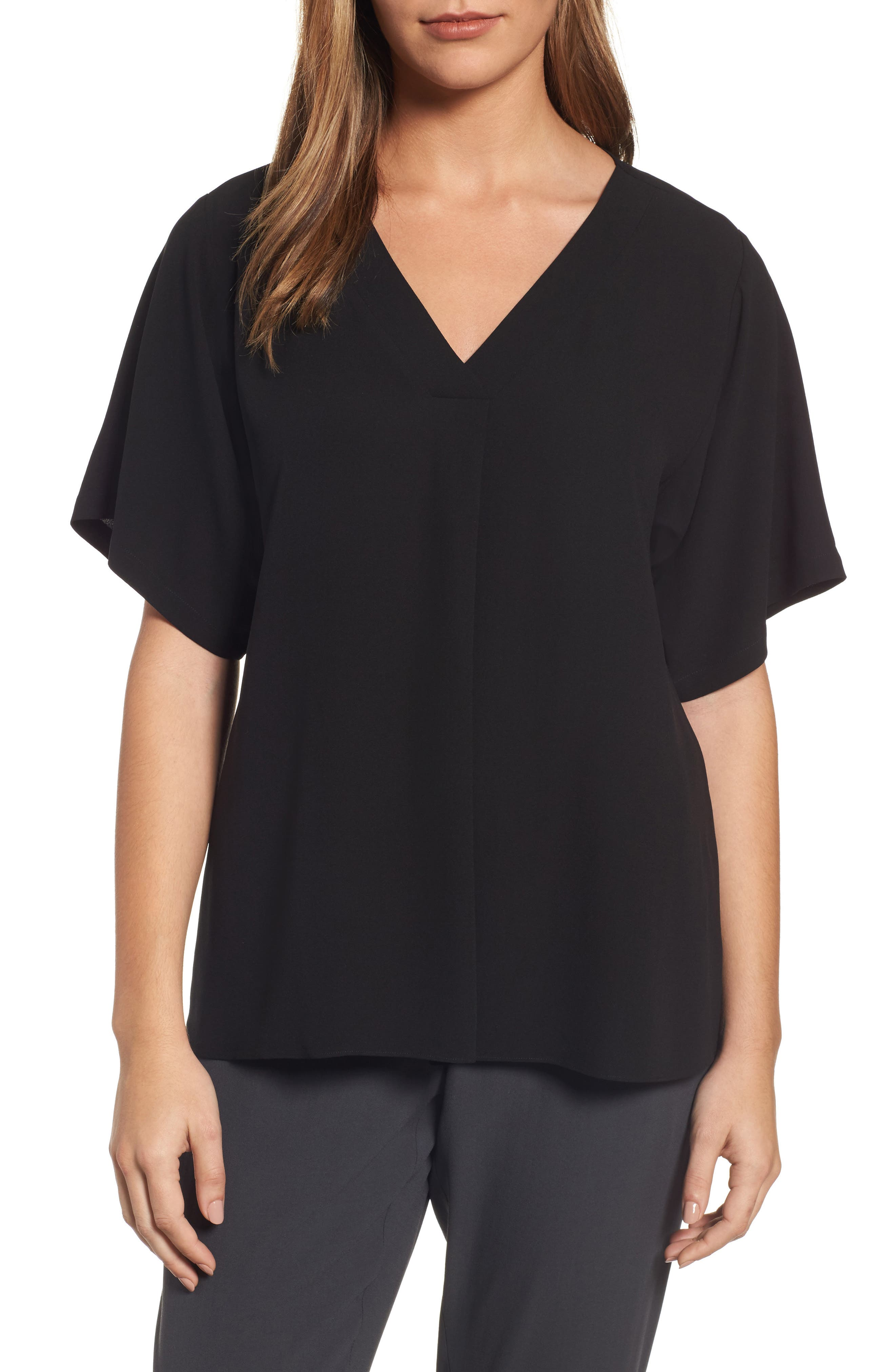 Silk V-Neck Top,                         Main,                         color, 001