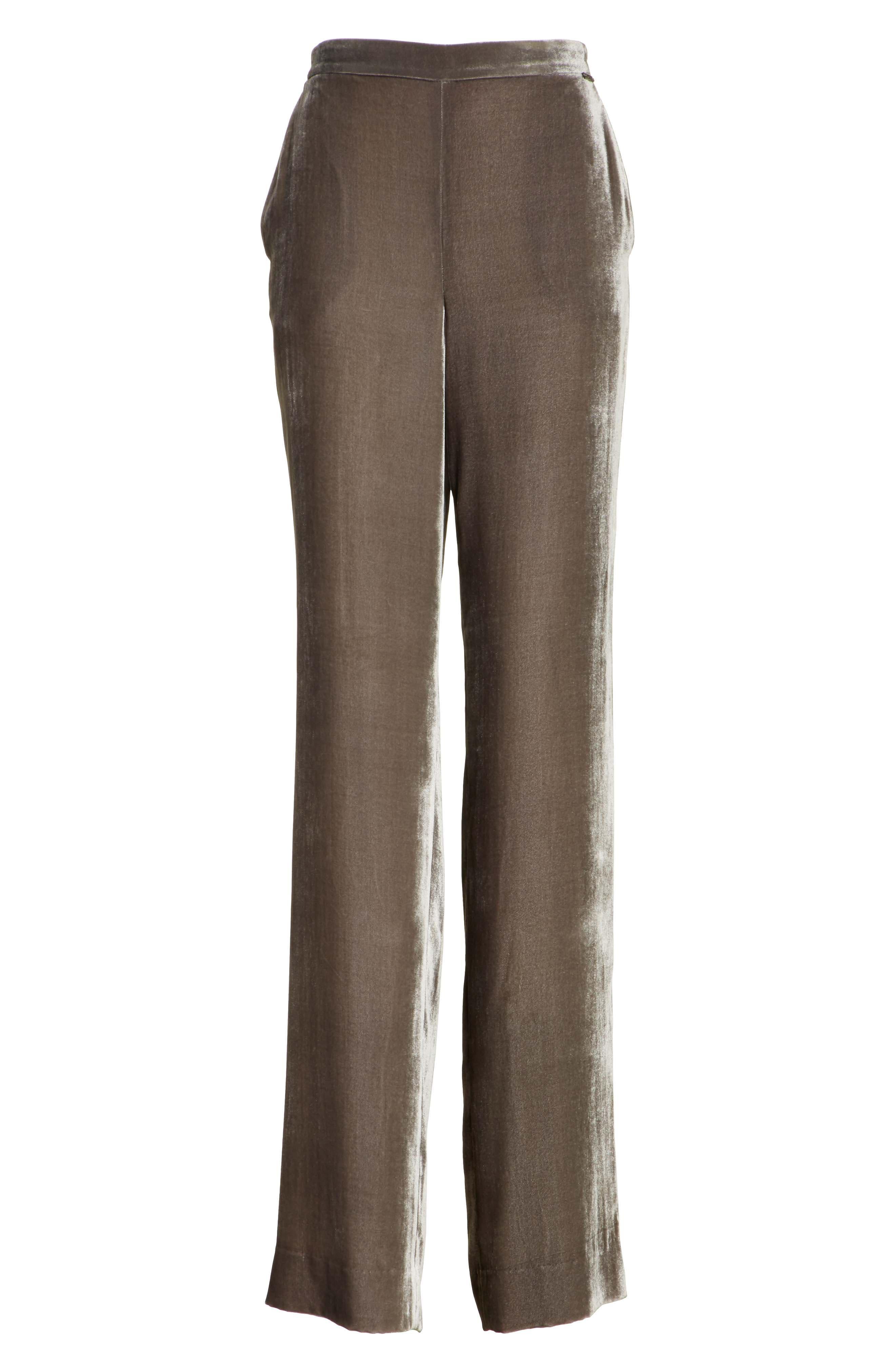 Wide Leg Velvet Pants,                             Alternate thumbnail 6, color,                             030