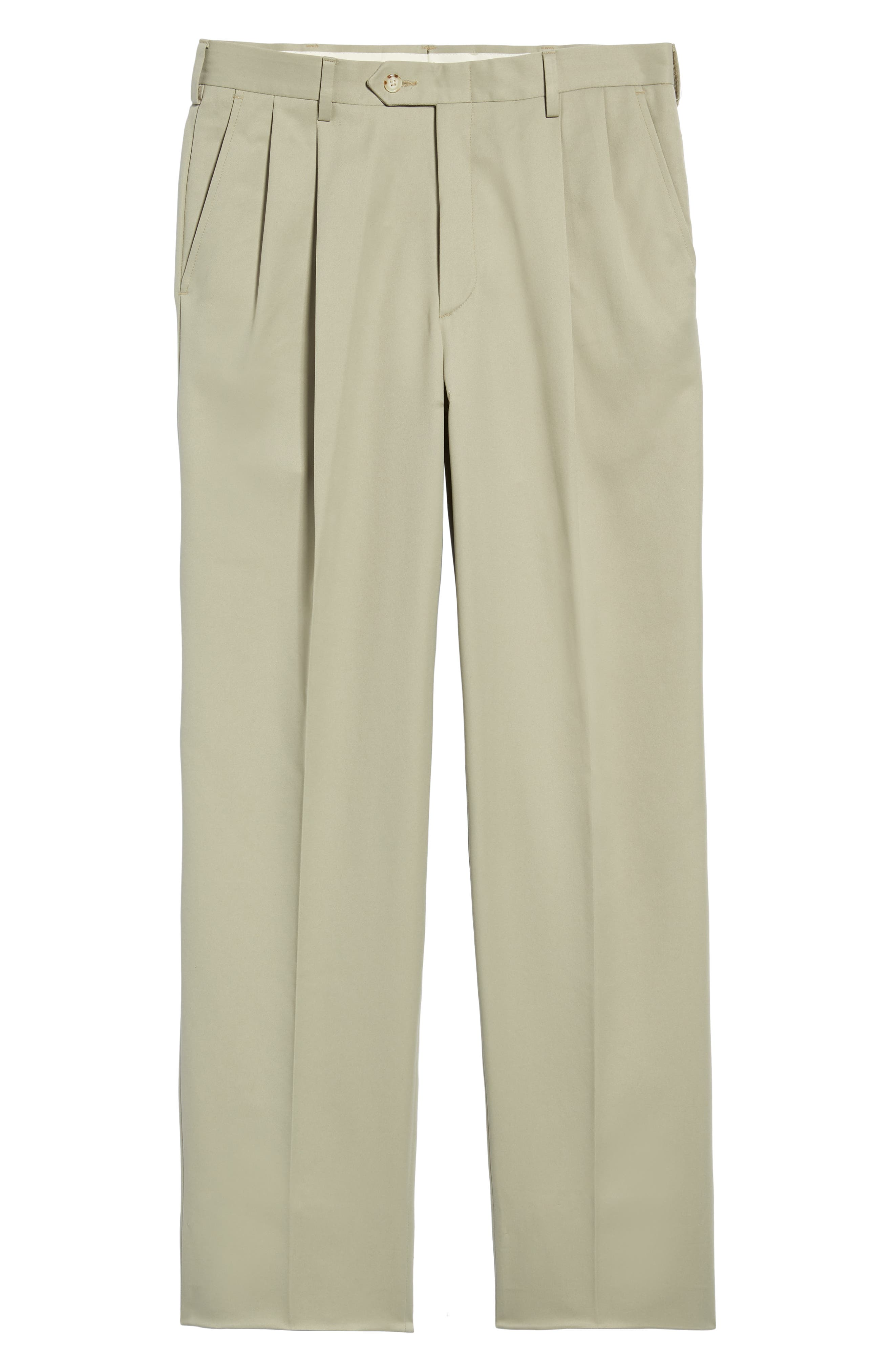 Classic Fit Pleated Microfiber Performance Trousers,                             Alternate thumbnail 6, color,                             TAUPE