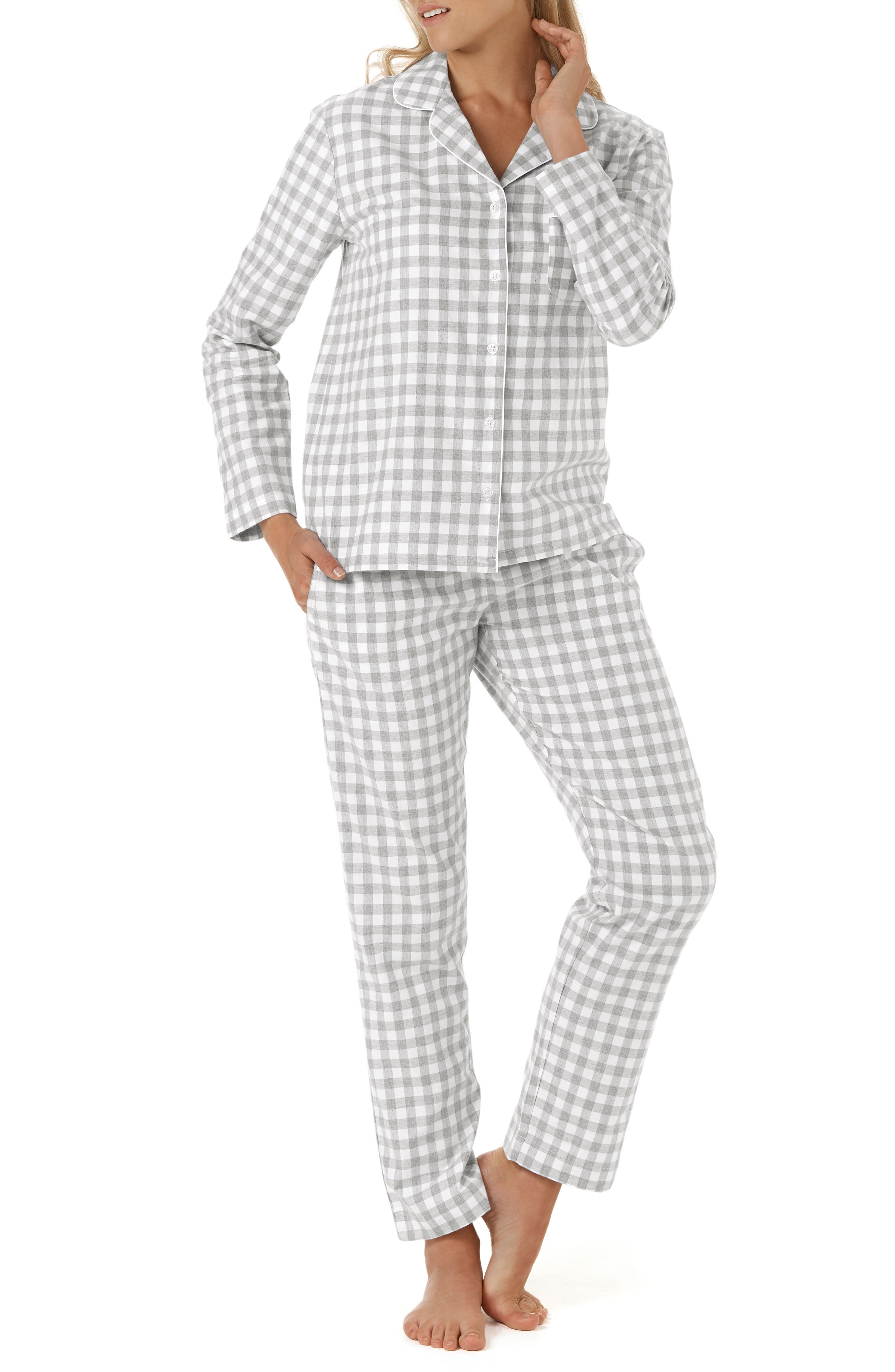 Gingham Check Pajamas,                             Main thumbnail 1, color,                             GREY/ WHITE GINGHAM