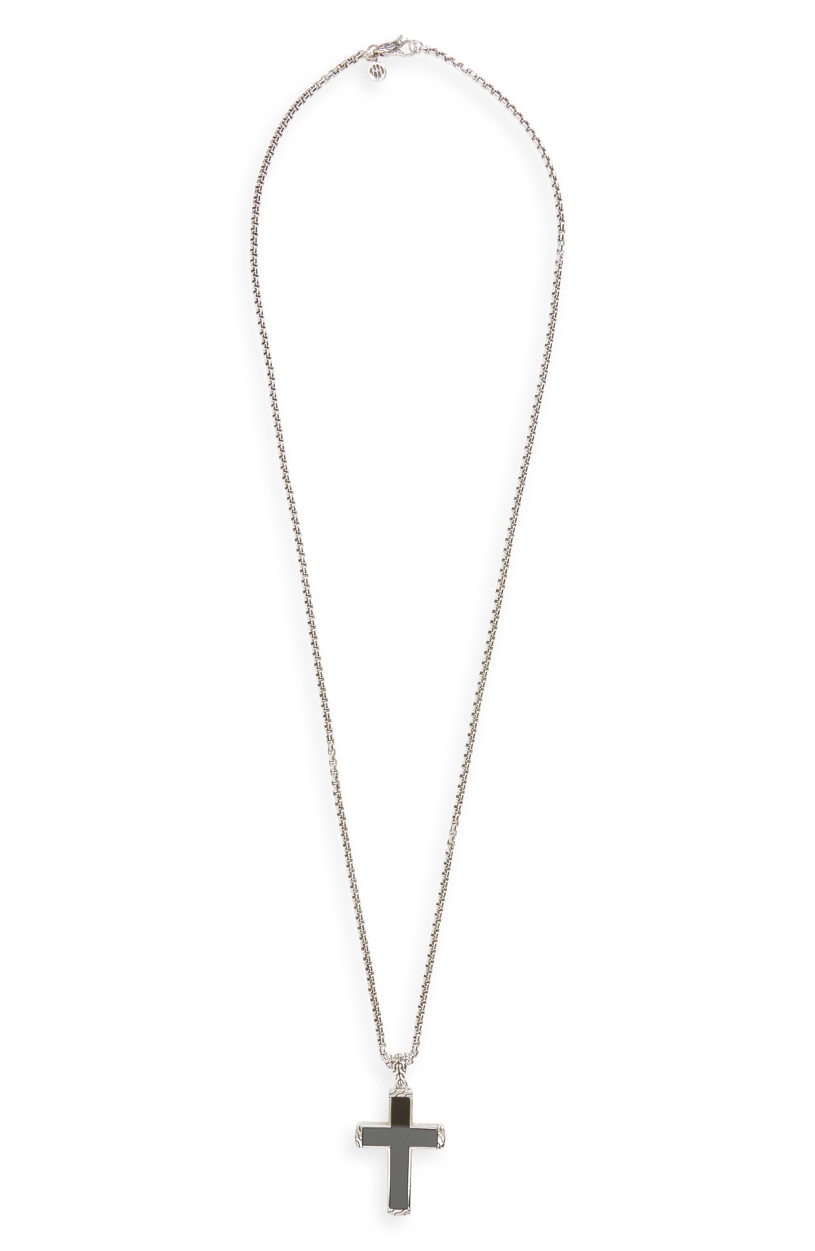 Classic Chain Cross Pendant Necklace,                             Main thumbnail 1, color,                             SILVER/ BLACK JADE