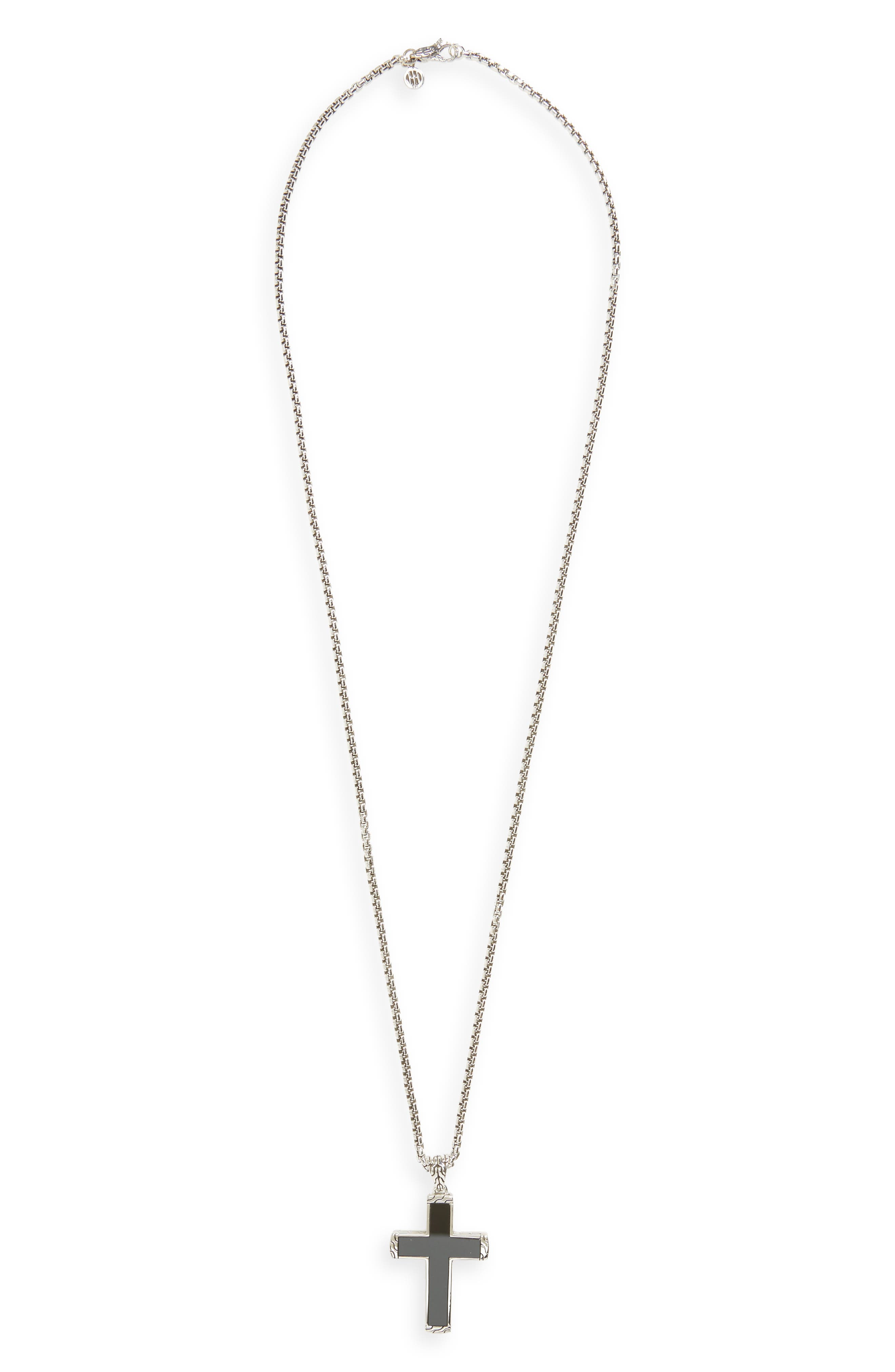 Classic Chain Cross Pendant Necklace,                         Main,                         color, SILVER/ BLACK JADE