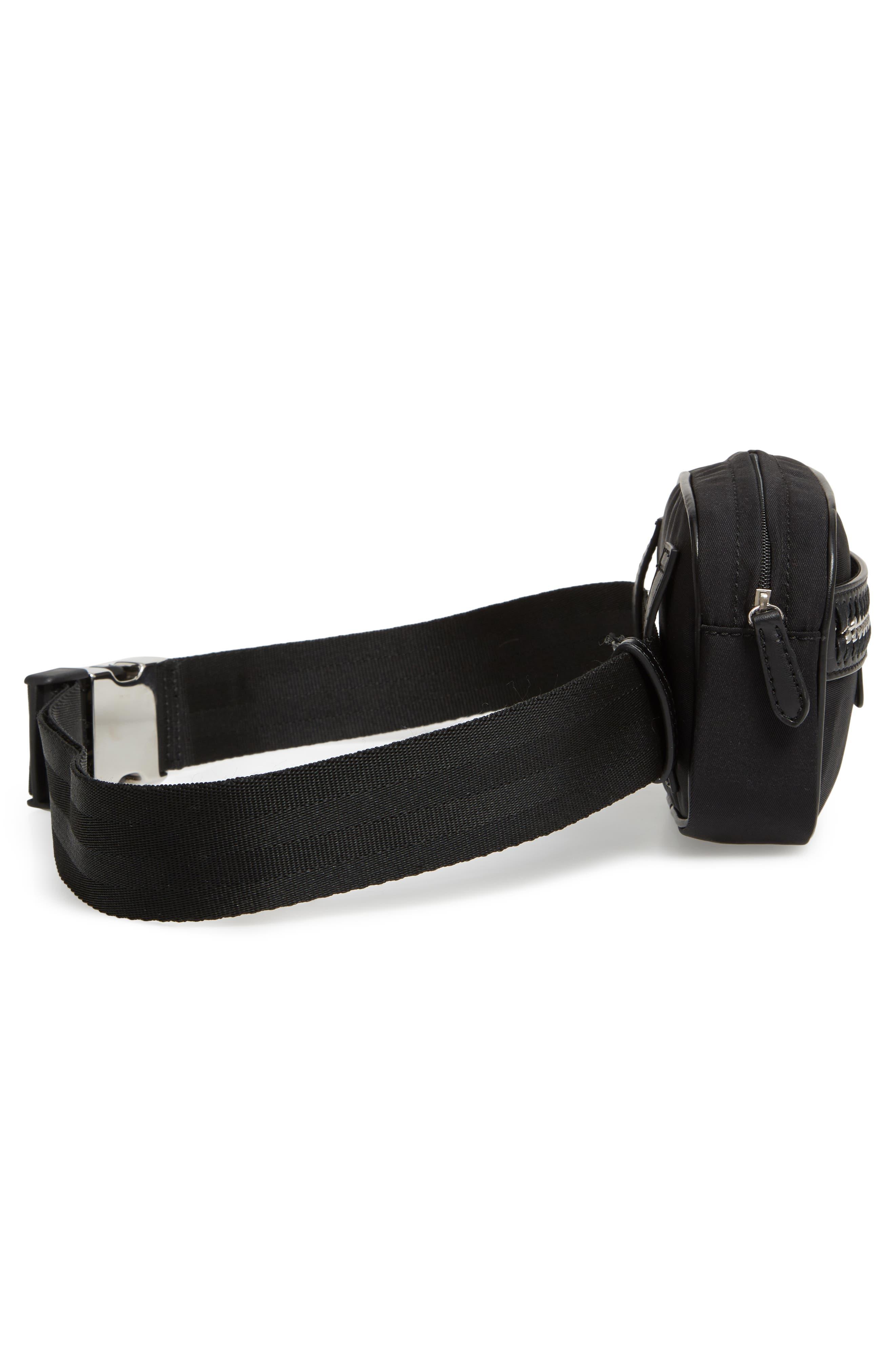 Nylon Convertible Belt Bag,                             Alternate thumbnail 6, color,                             BLACK/ SILVER