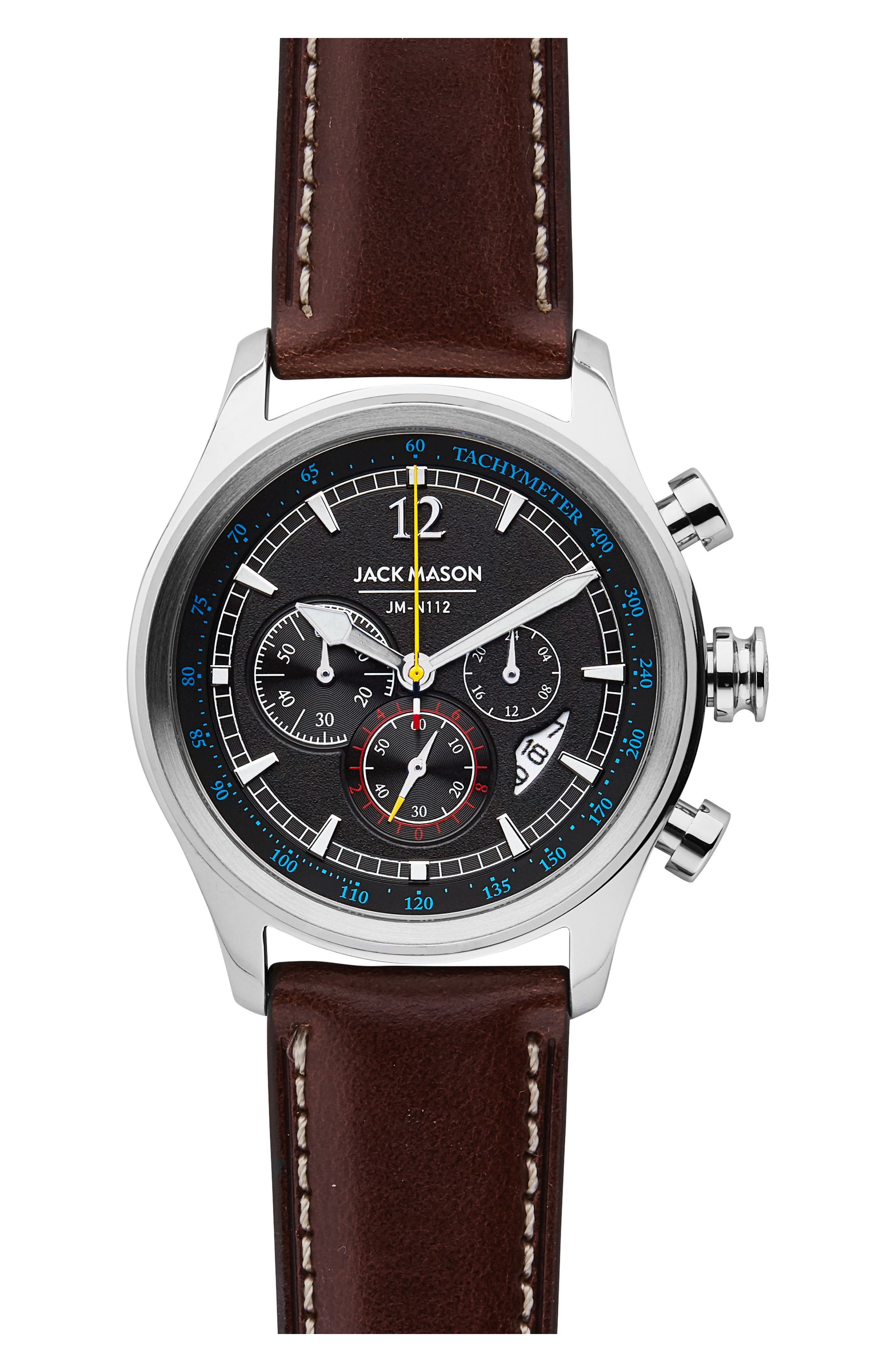 Nautical Chronograph Leather Strap Watch, 42mm,                         Main,                         color, GREY/ DARK BROWN