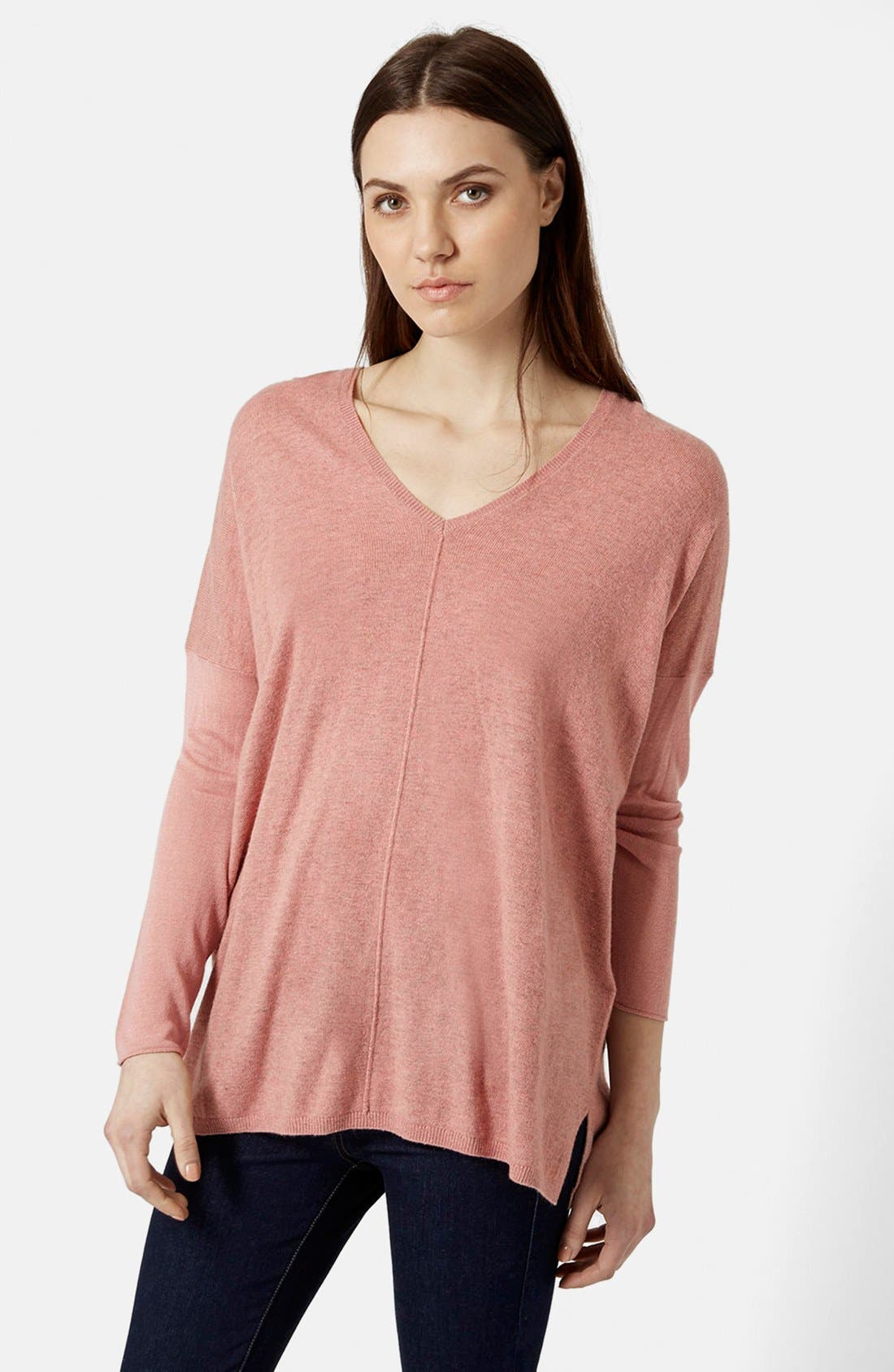 Front Seam V-Neck Sweater,                             Main thumbnail 2, color,