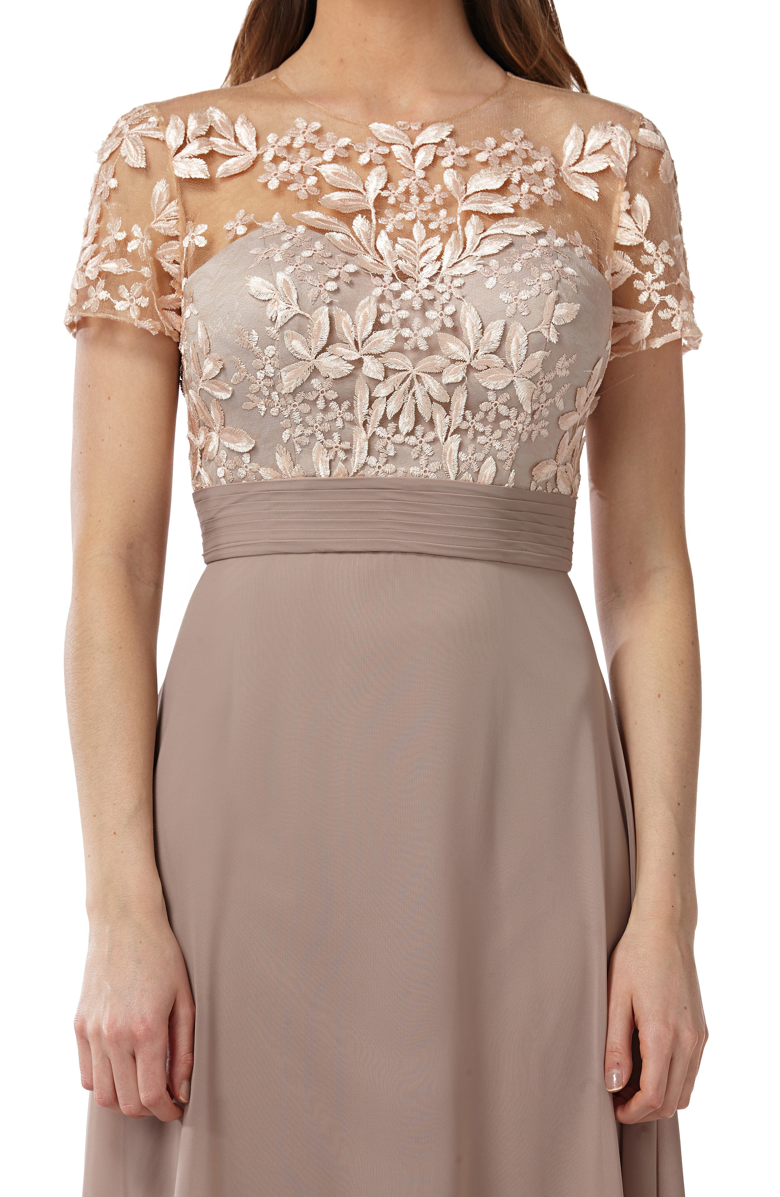 JS COLLECTIONS,                             Embroidered Illusion Bodice Gown,                             Alternate thumbnail 4, color,                             BLUSH/ NUDE