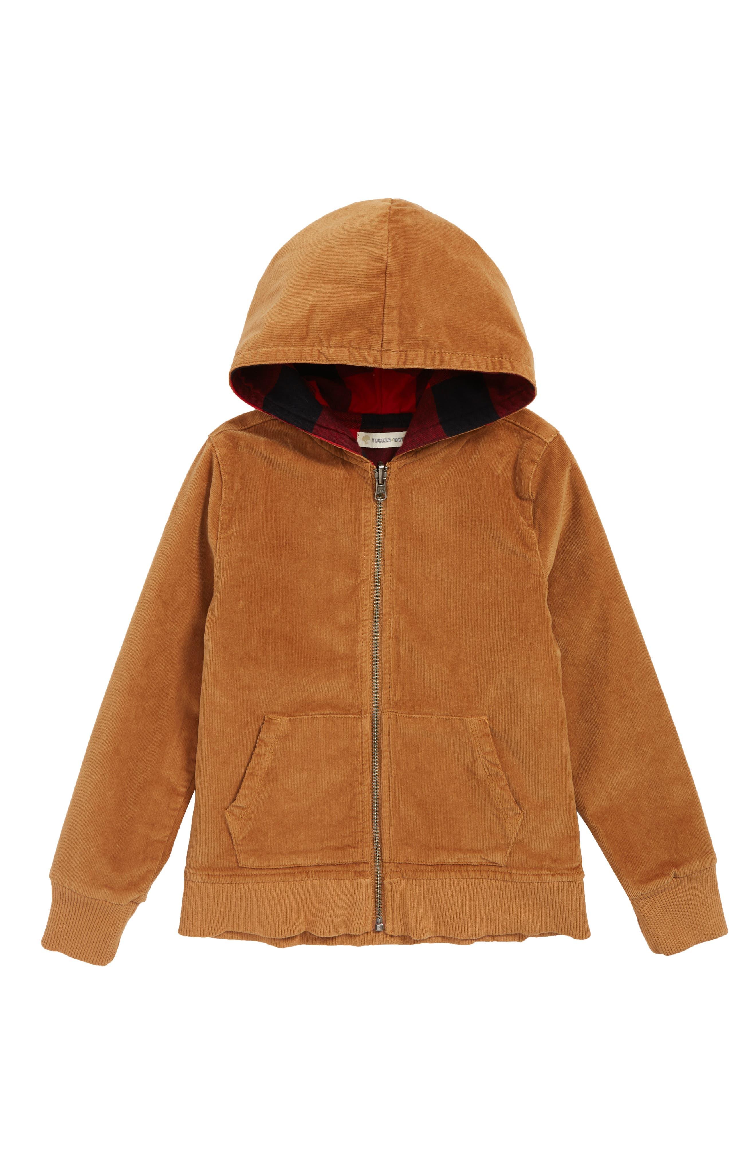Reversible Corduroy/Plaid Hooded Jacket,                             Main thumbnail 1, color,                             TAN DALE