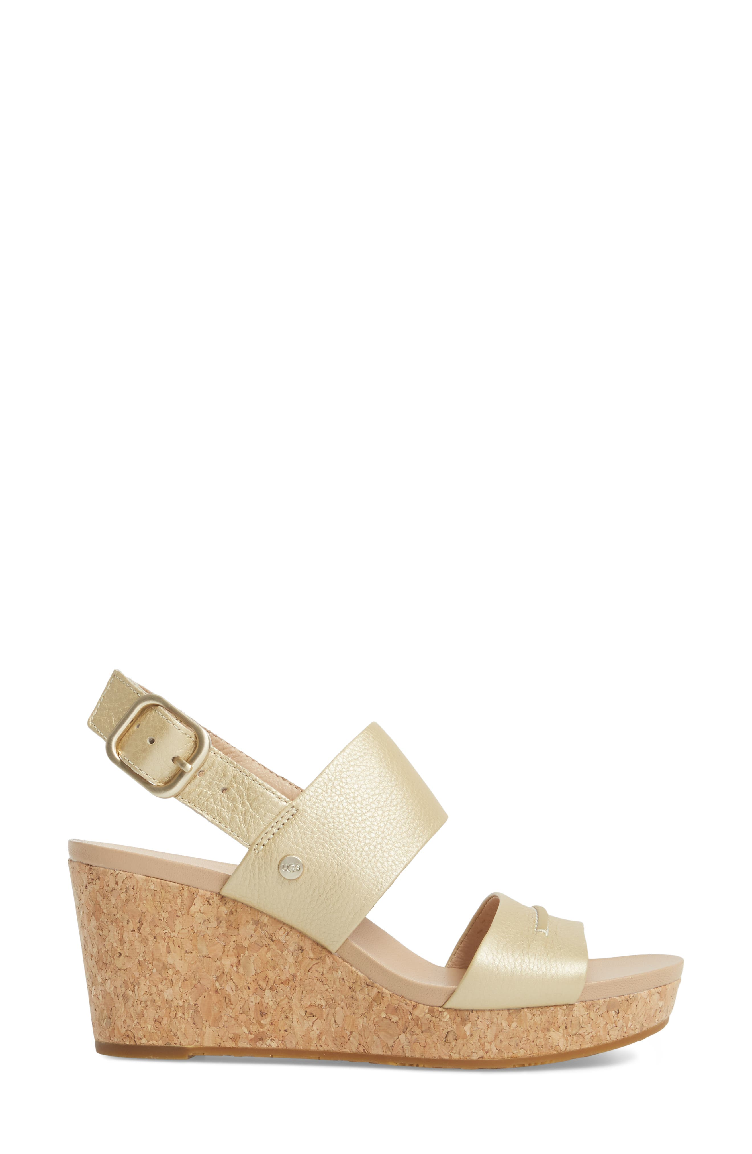 Elena II Metallic Platform Wedge Sandal,                             Alternate thumbnail 3, color,