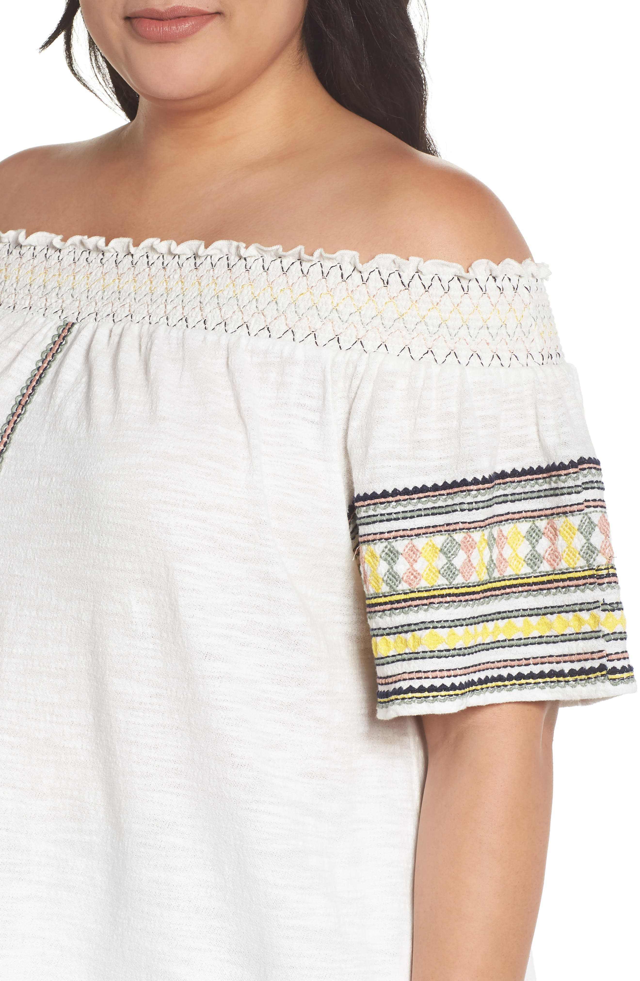 Embroidered Off the Shoulder Top,                             Alternate thumbnail 4, color,                             900