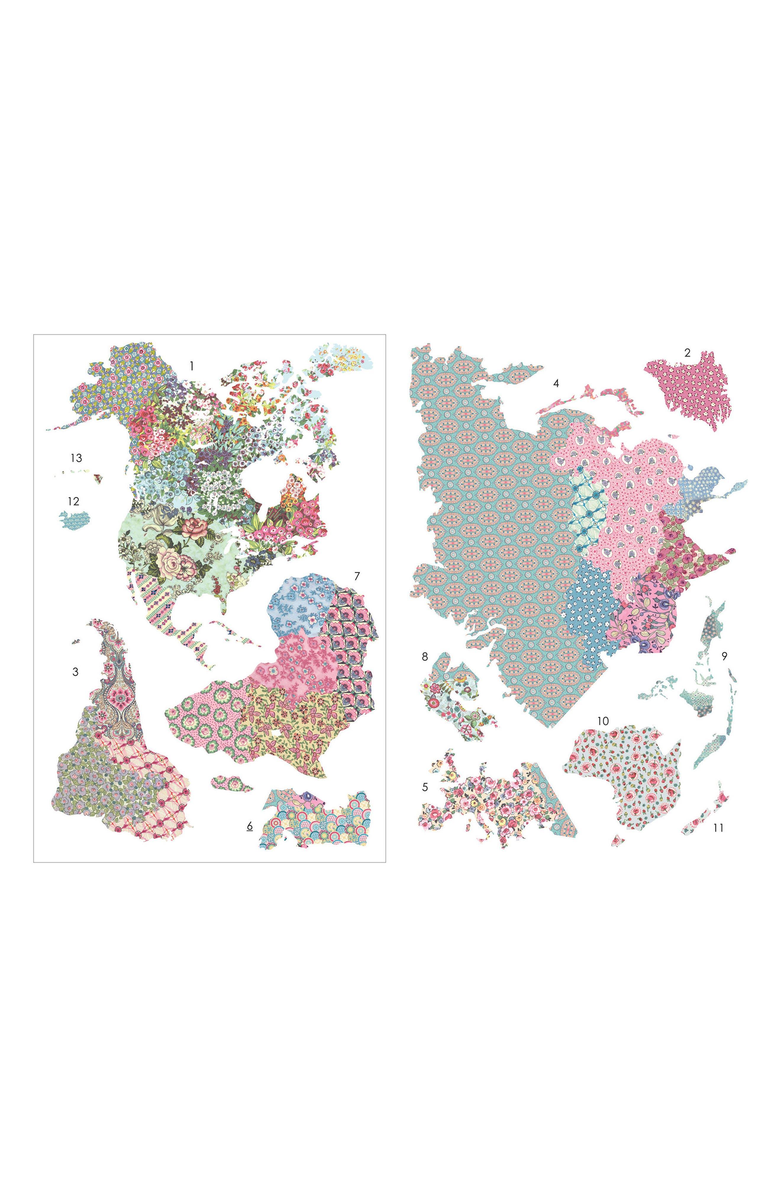 Boho World Map Giant Panel Wall Art,                             Alternate thumbnail 3, color,                             650
