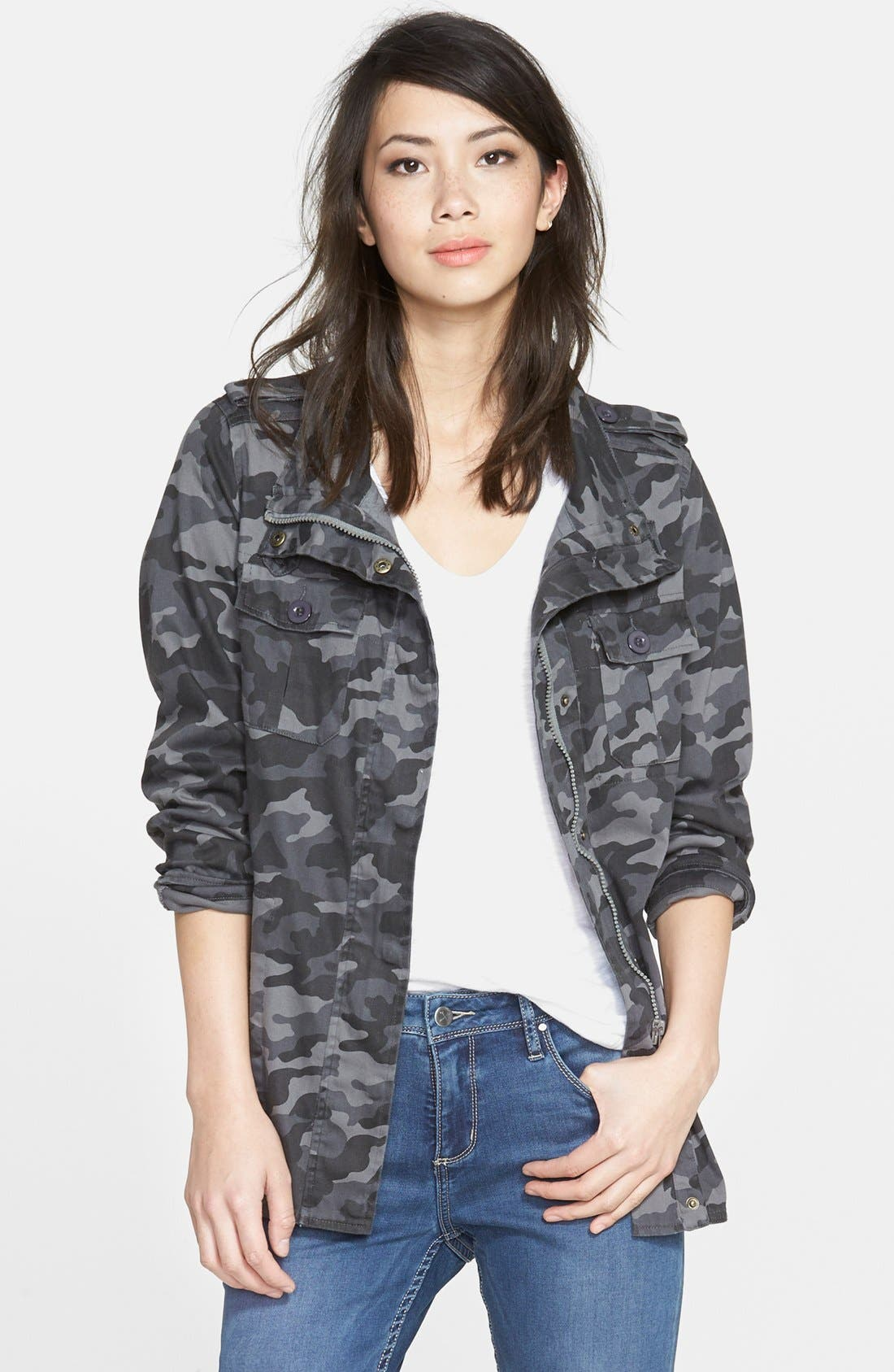 Lightweight Stretch Cotton Military Jacket,                         Main,                         color, 021
