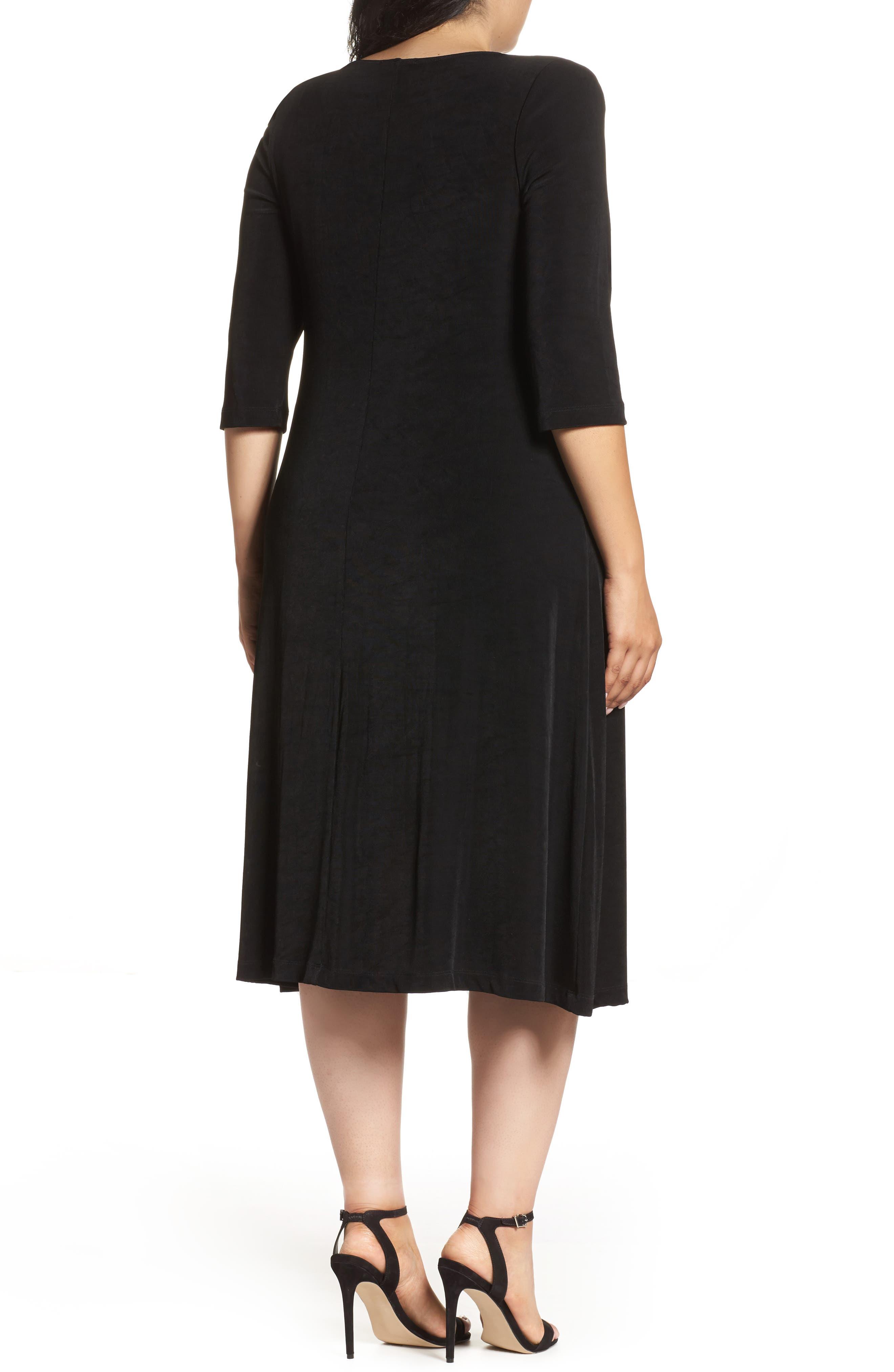 Three-Quarter Sleeve Stretch Knit A-Line Dress,                             Alternate thumbnail 3, color,                             BLACK