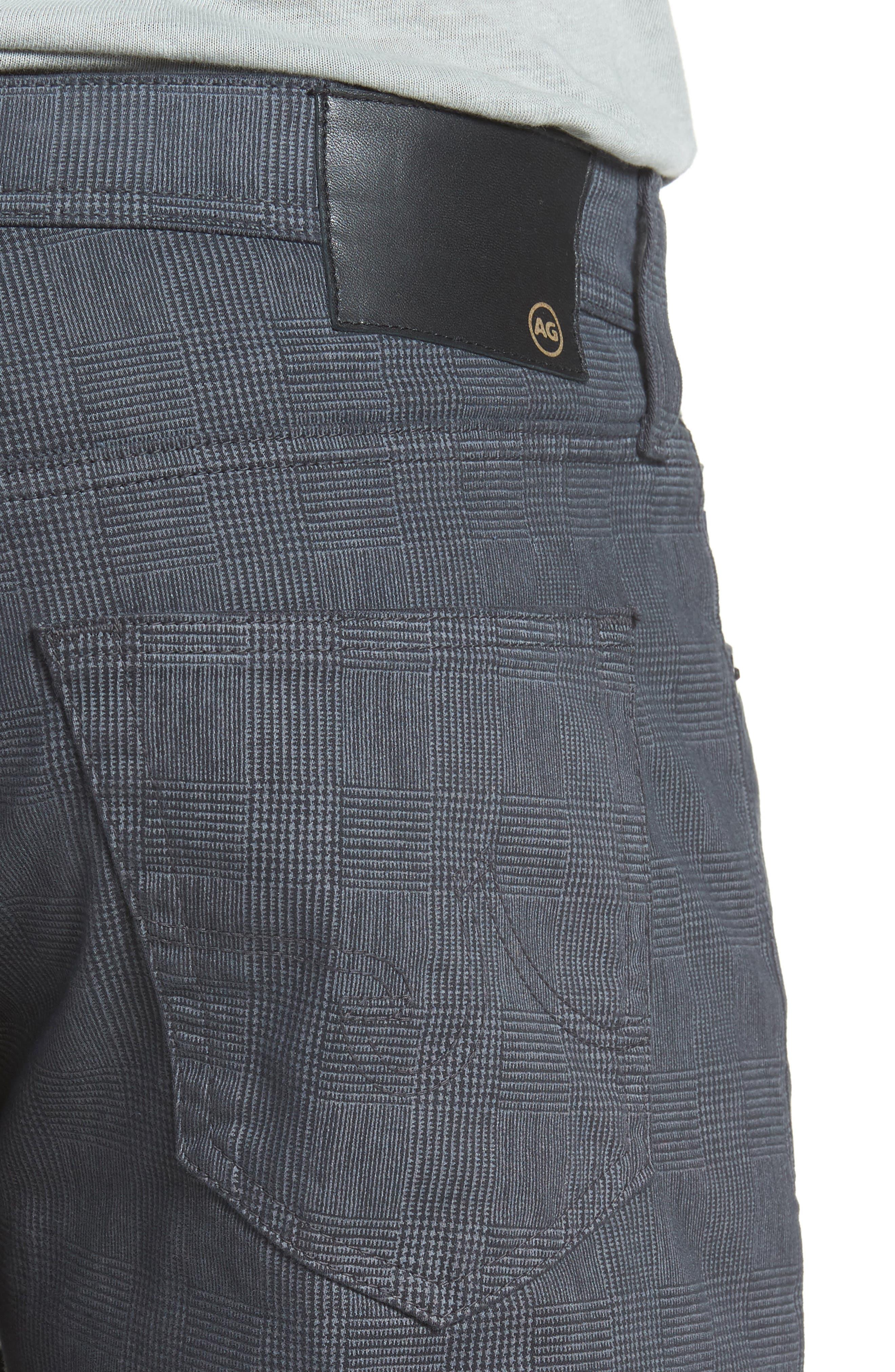 Everett SUD Print Slim Straight Leg Pants,                             Alternate thumbnail 4, color,                             FINE PLAID GREY STONE