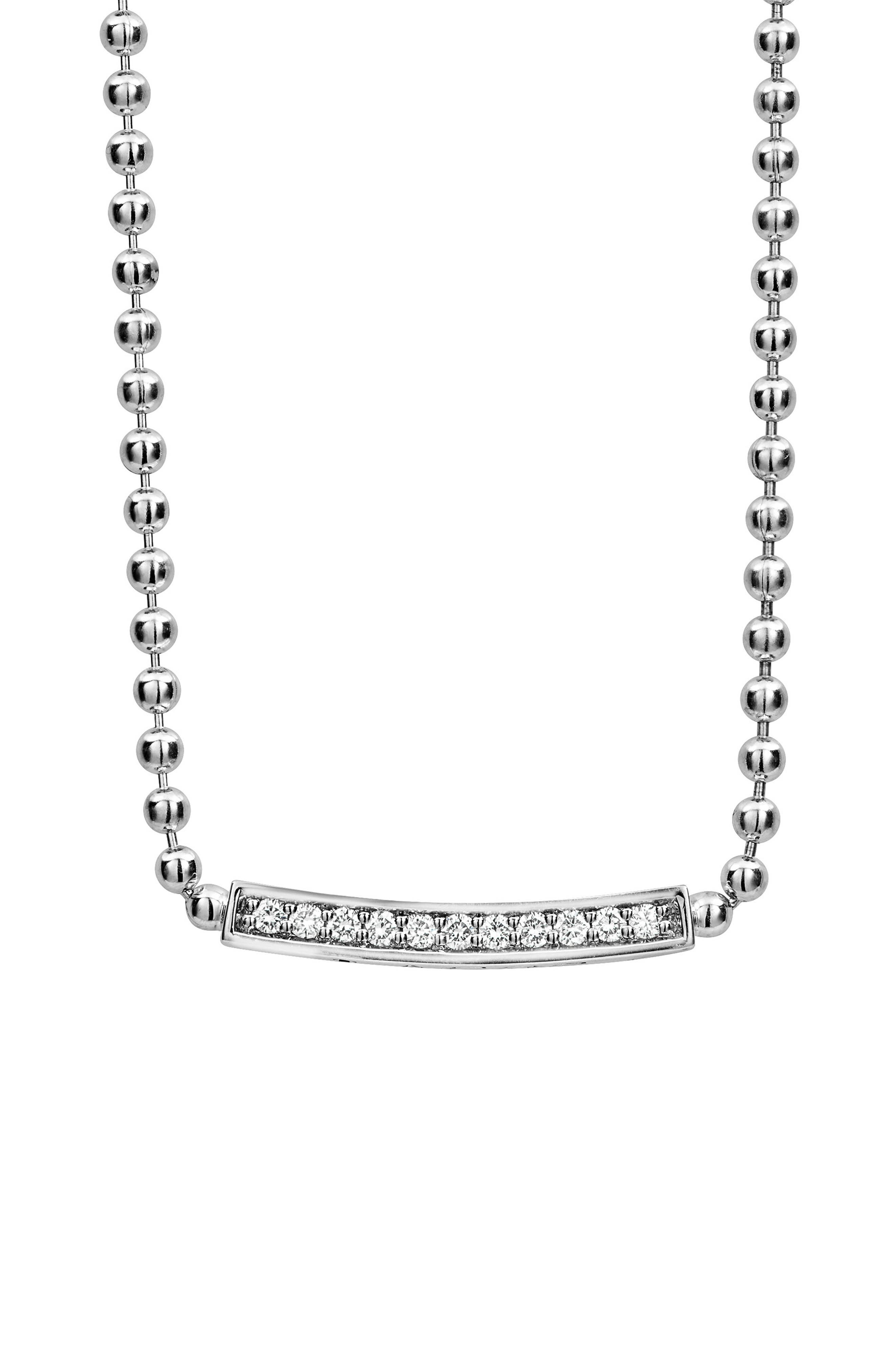 Caviar Spark Diamond Pendant Necklace,                             Alternate thumbnail 4, color,                             SILVER/ DIAMOND