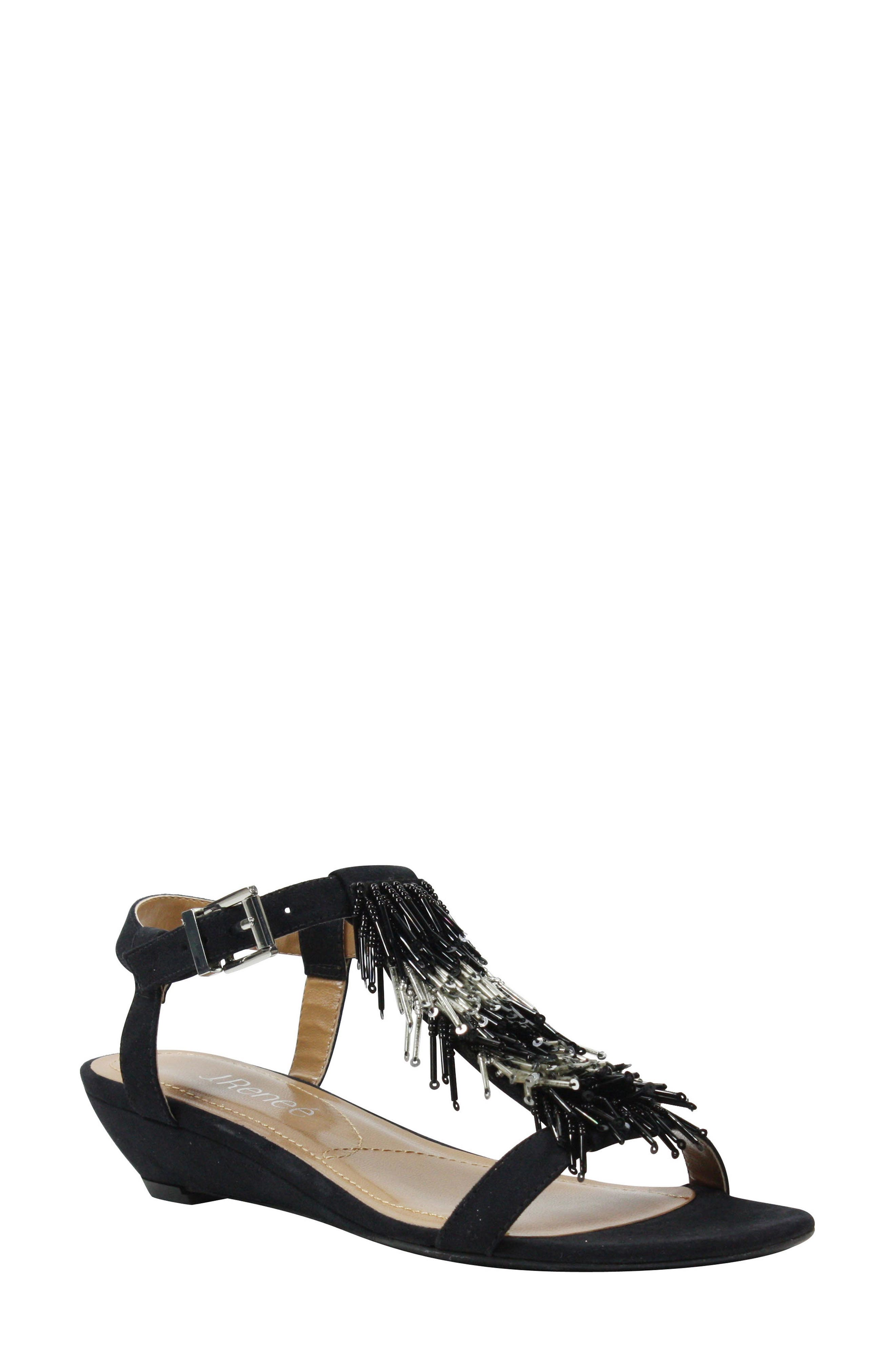 Alessa Sandal,                         Main,                         color, BLACK/ SILVER FABRIC
