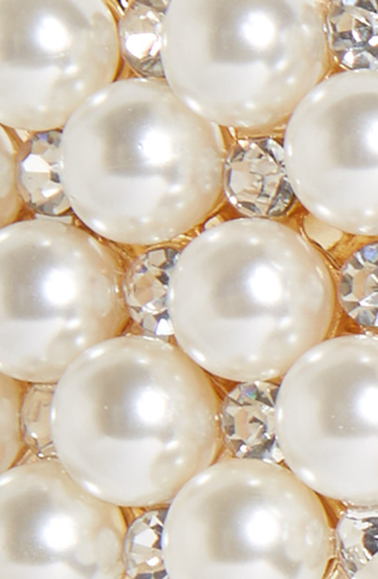 Crystal & Imitation Pearl Embellished Barrette,                             Alternate thumbnail 3, color,                             GOLD